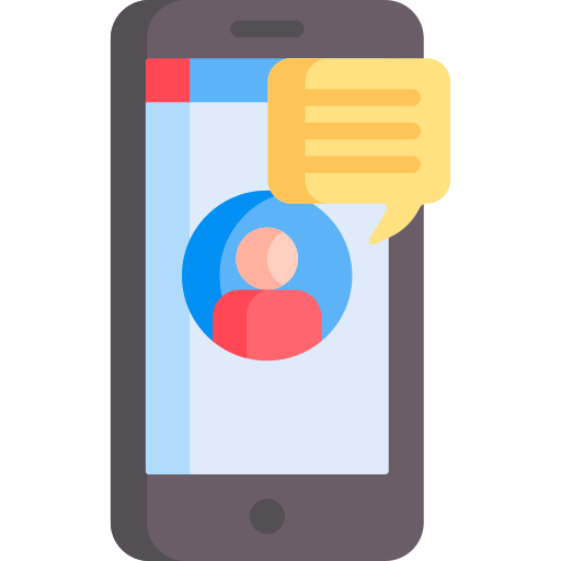 An icon of a phone displaying a messaging  app