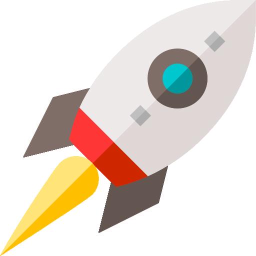An icon of a rocket in flight