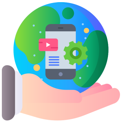 A hand holding a globe with a phone icon on the surface