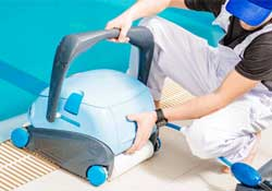 Pool pros will check to make sure your robotic cleaner is working properly.