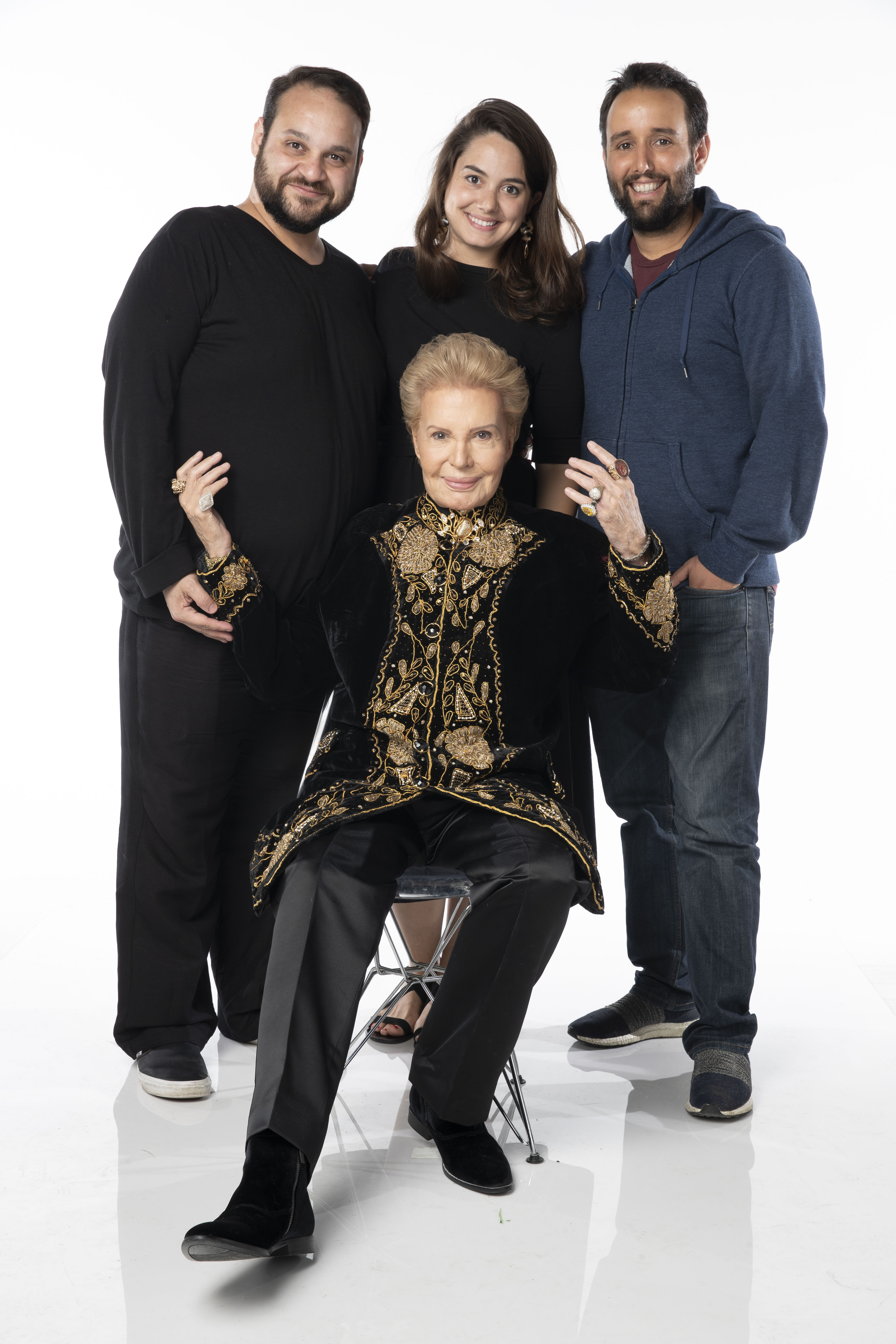 Walter Mercado with filmmakers Cristina Costantini, Kareem Tabsch, and Alex Fumero