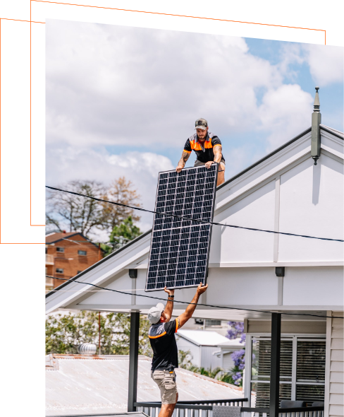 Solar power Brisbane experts installing solar panels on roof of house
