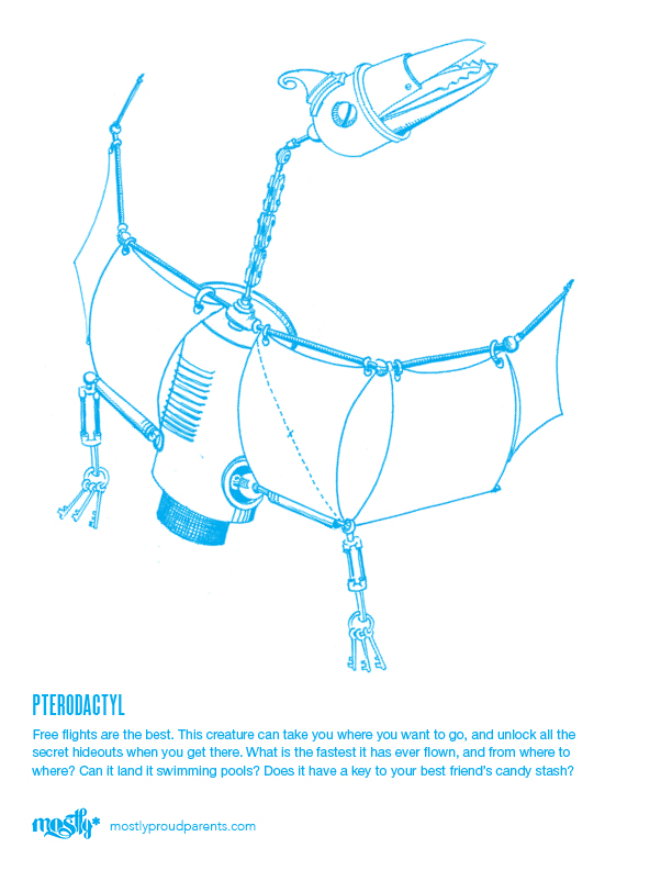 A kids' coloring sheet of a robotic triceratops dinosaur pteradactyl