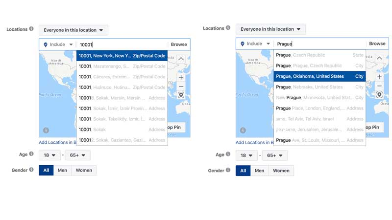 Geo Targeting Options Facebook