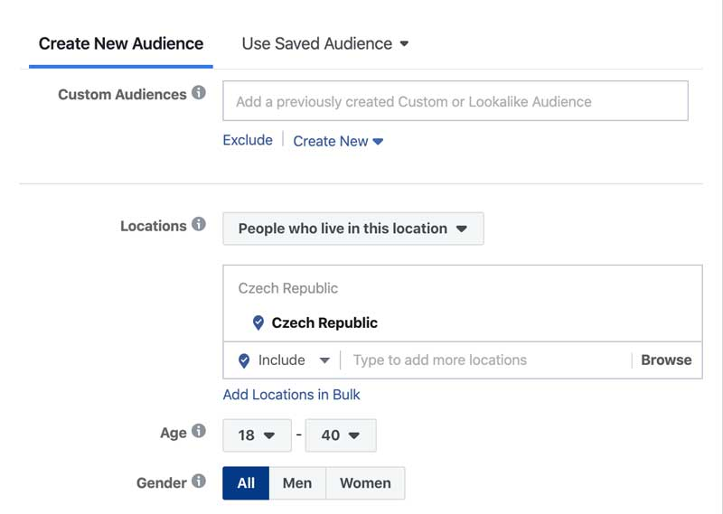 Facebook Targeting audience