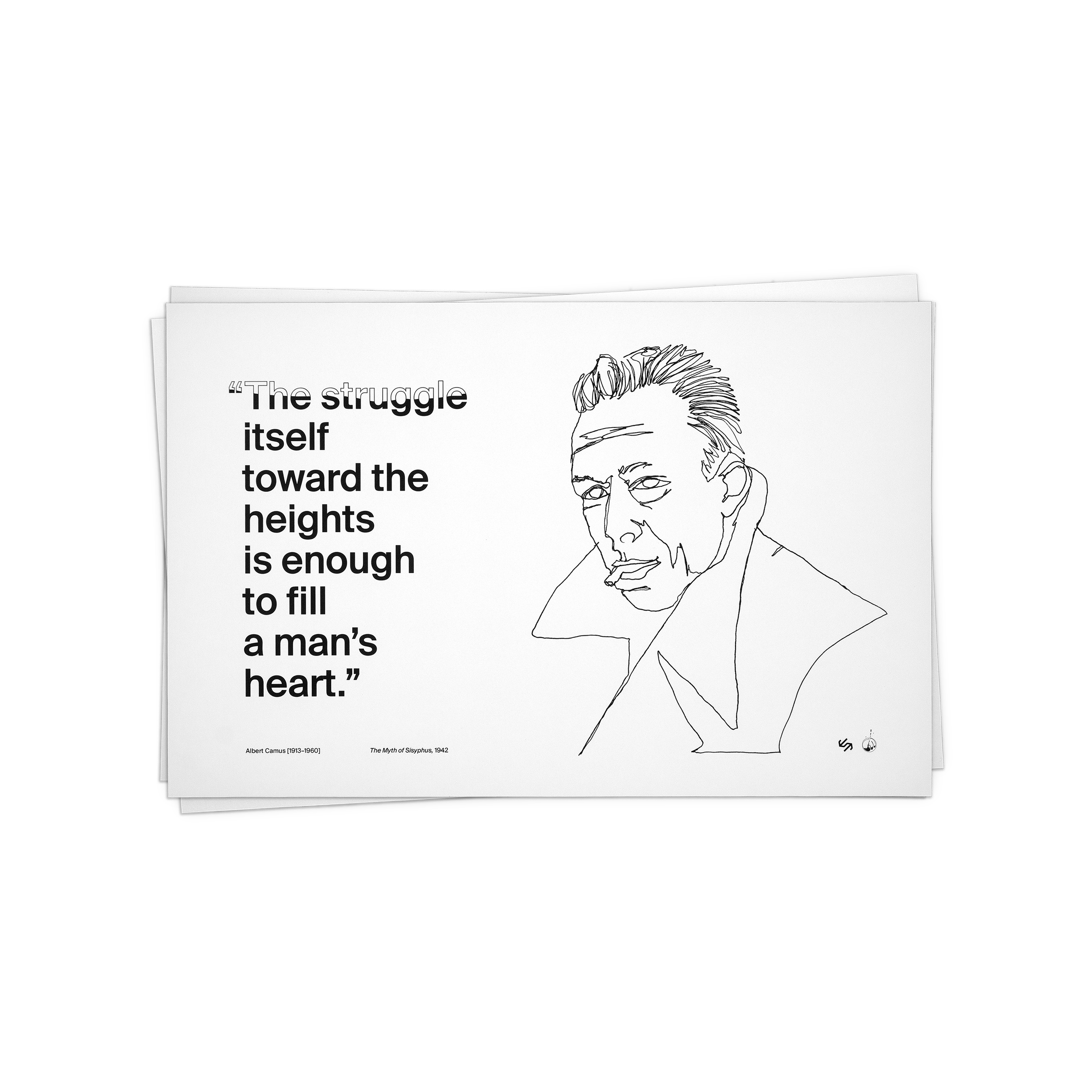 11 x 17 fine art prints as part of a three-piece series. Printed on premium matte paper. Featuring quotes from and illustrations of Albert Camus, Søren Kierkegaard, and Charles Bukowski. Made to order. Does not include frame.