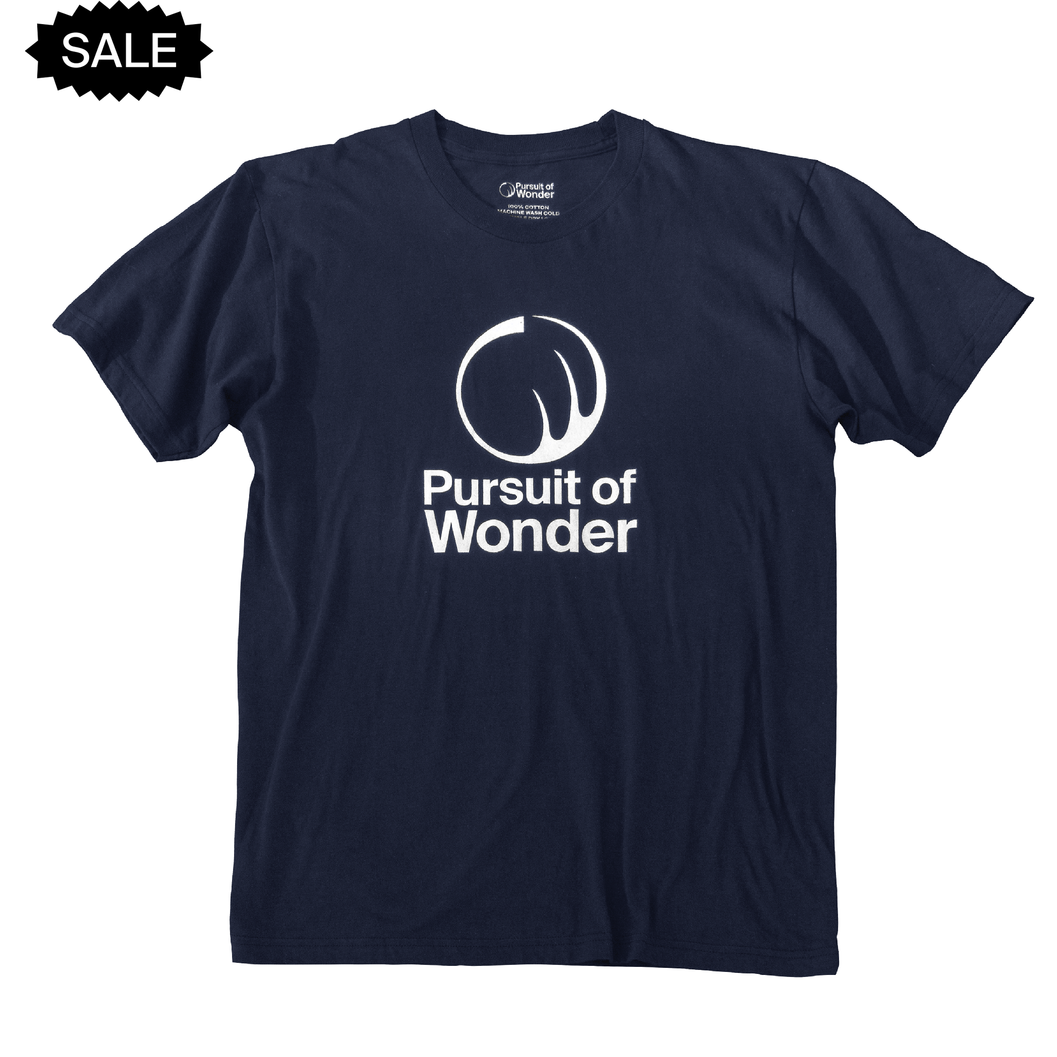 Short sleeve shirt available in white, navy, and cranberry. Features the brand-new Pursuit of Wonder logo. Graphic is printed in white on navy and cranberry shirts and in black and blue on white shirts.