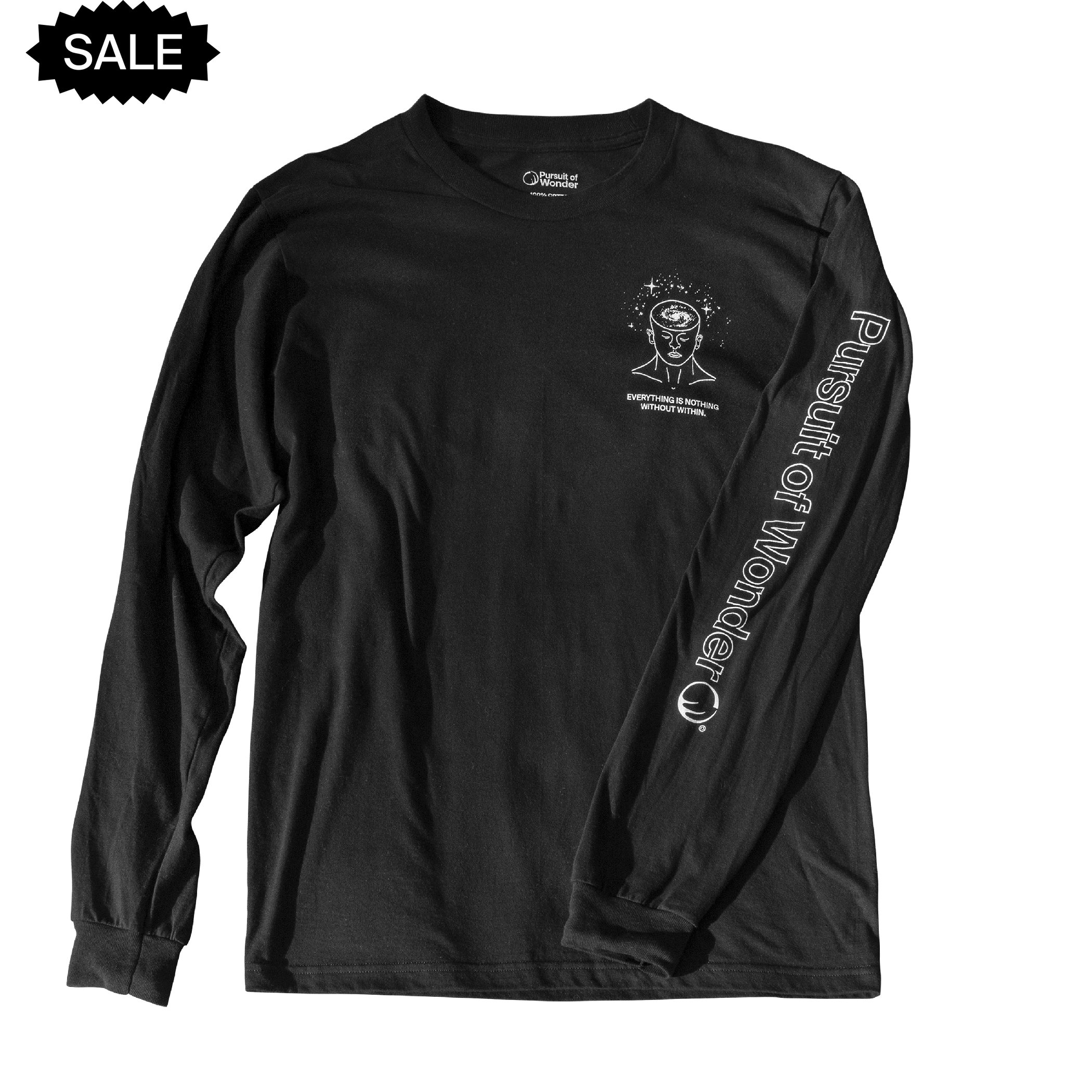 A comfortable, black long sleeve shirt featuring an original Pursuit of Wonder drawing and quote as well as a full left arm logo graphic.