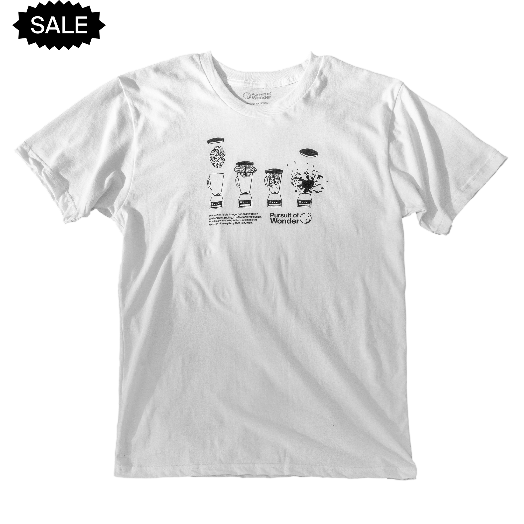 Short sleeve shirt featuring a sequence from the classic exploding brain blender outro animation, as well as an original quote and the Pursuit of Wonder logo.