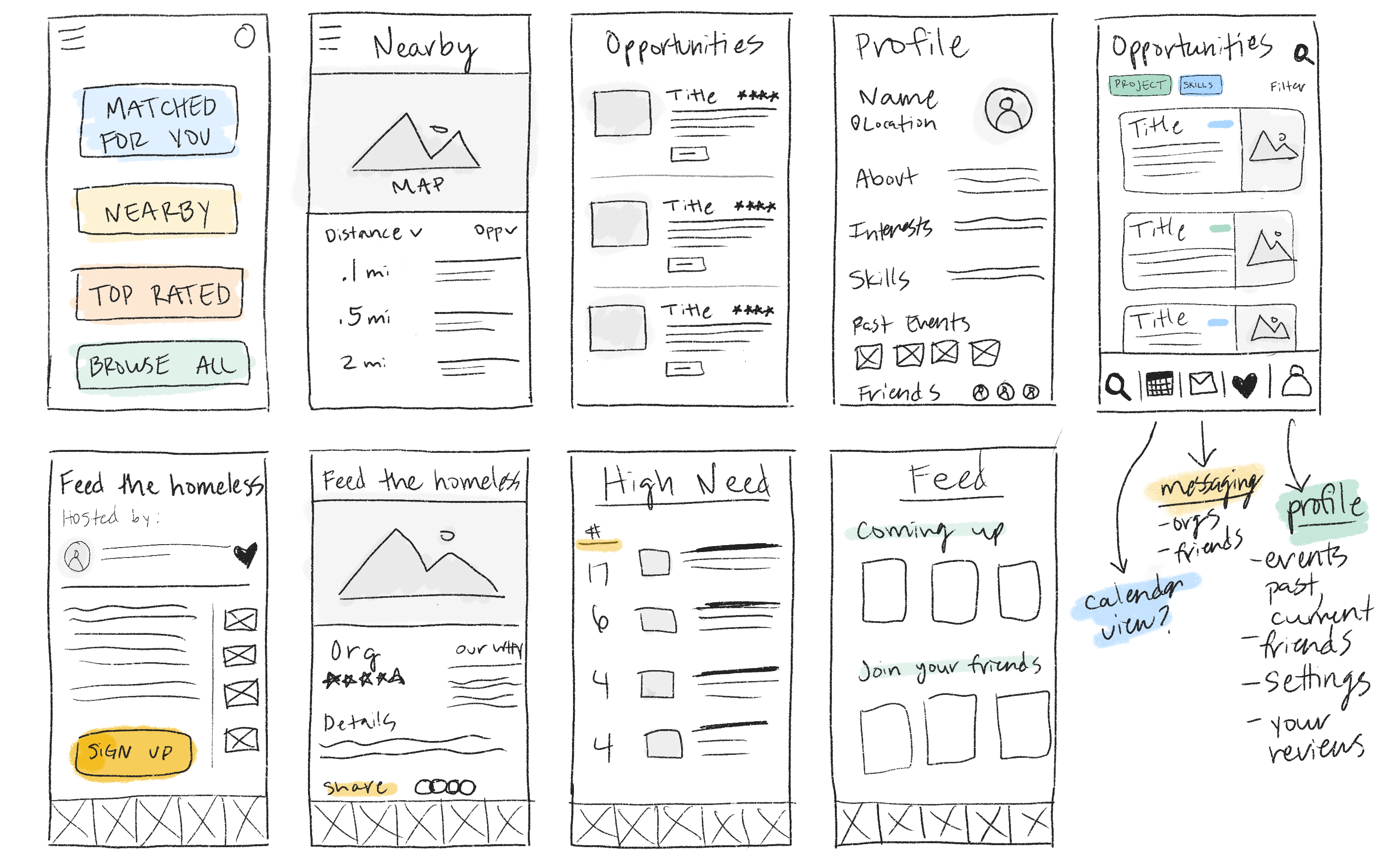 Image of UI sketches