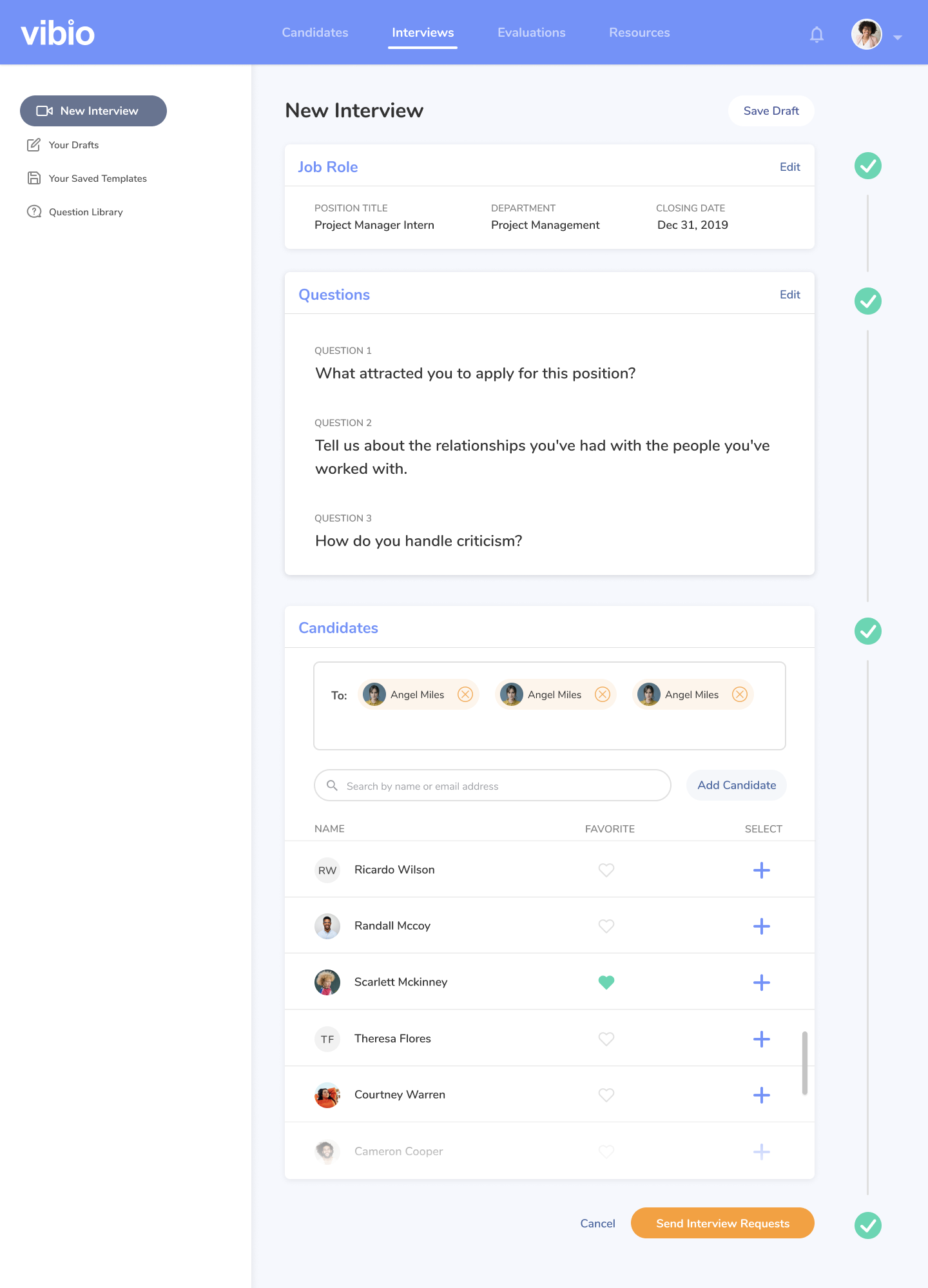Image of Vibio new interview one-page solution UI