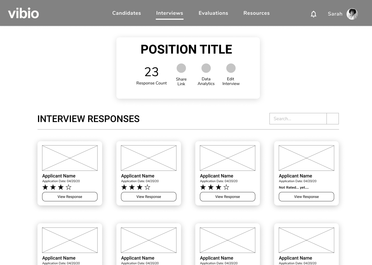 Image of visual candidate evaluation wireframe