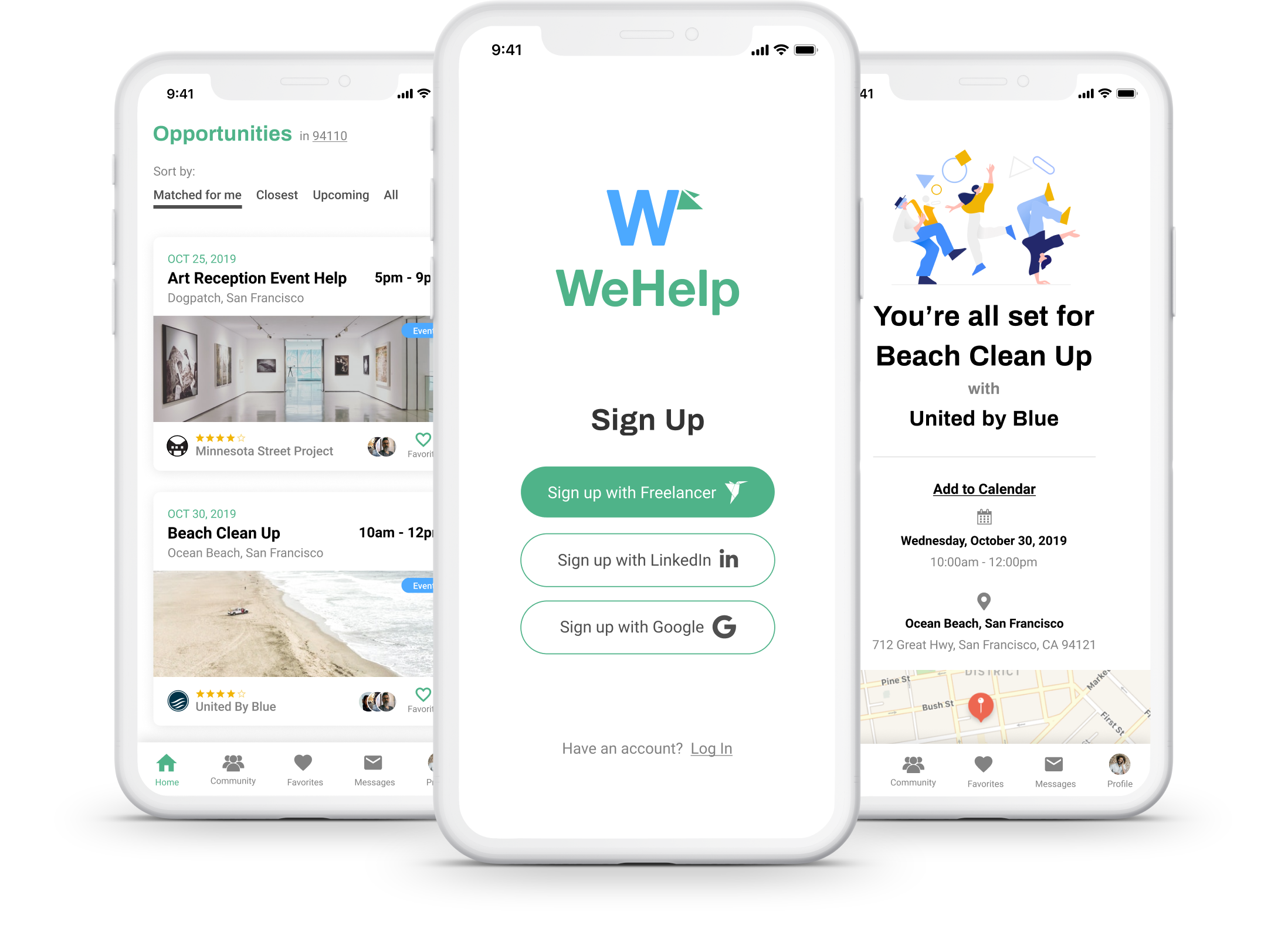 Image of WeHelp by Freelancer concept app UI on mobile