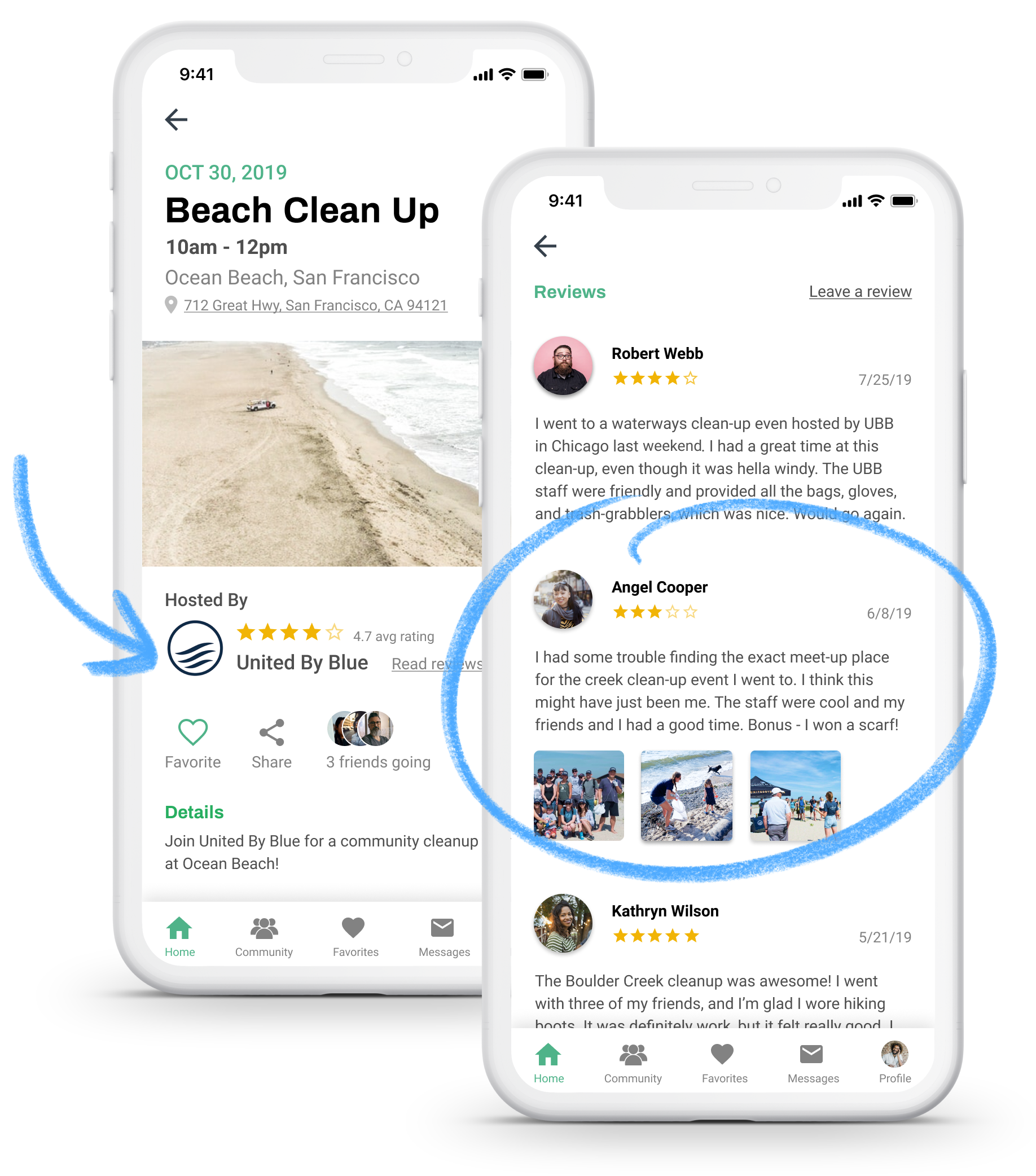 Image of ratings and review UI