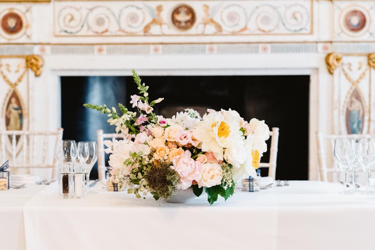Peony top table wedding centrepiece
