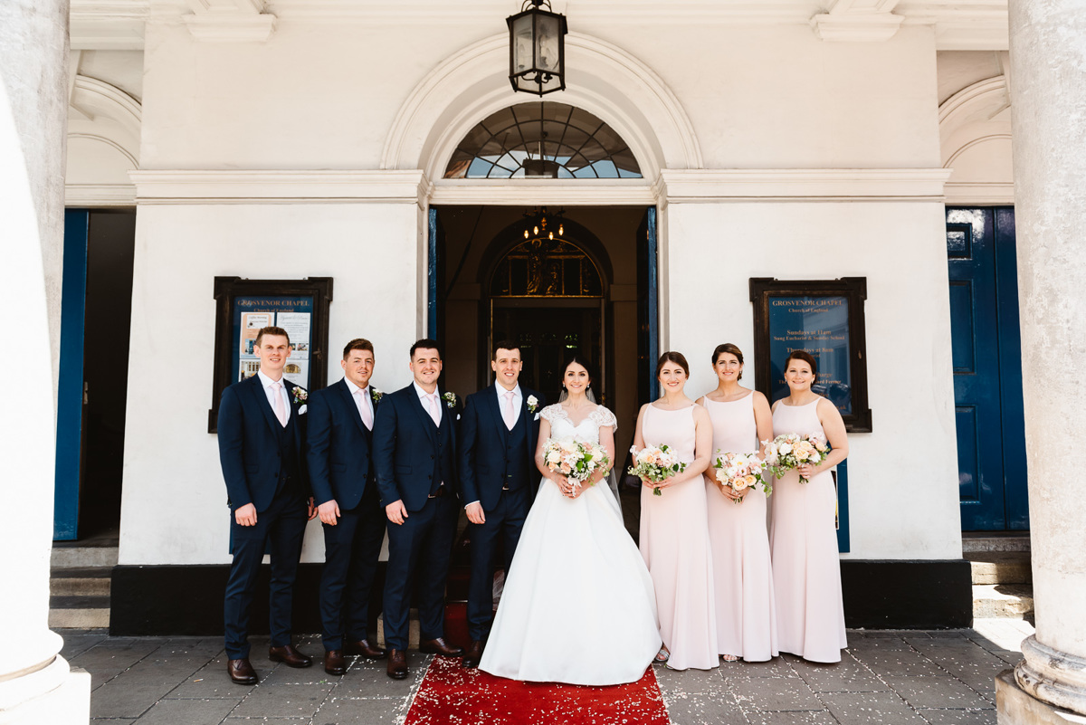Bride and Groom and wedding party in London, Mayfair