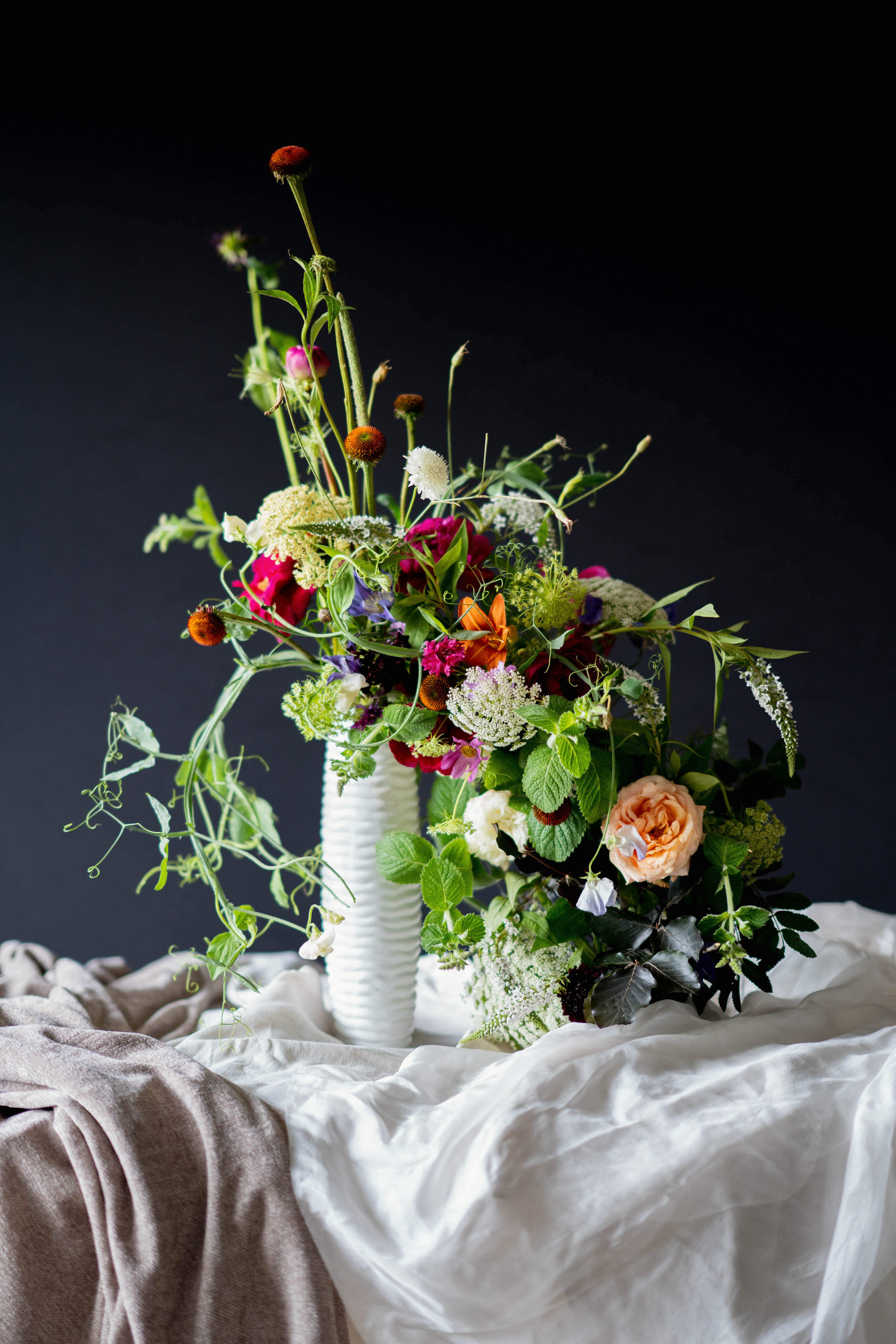 Flower Arrangement in a Tall Vase
