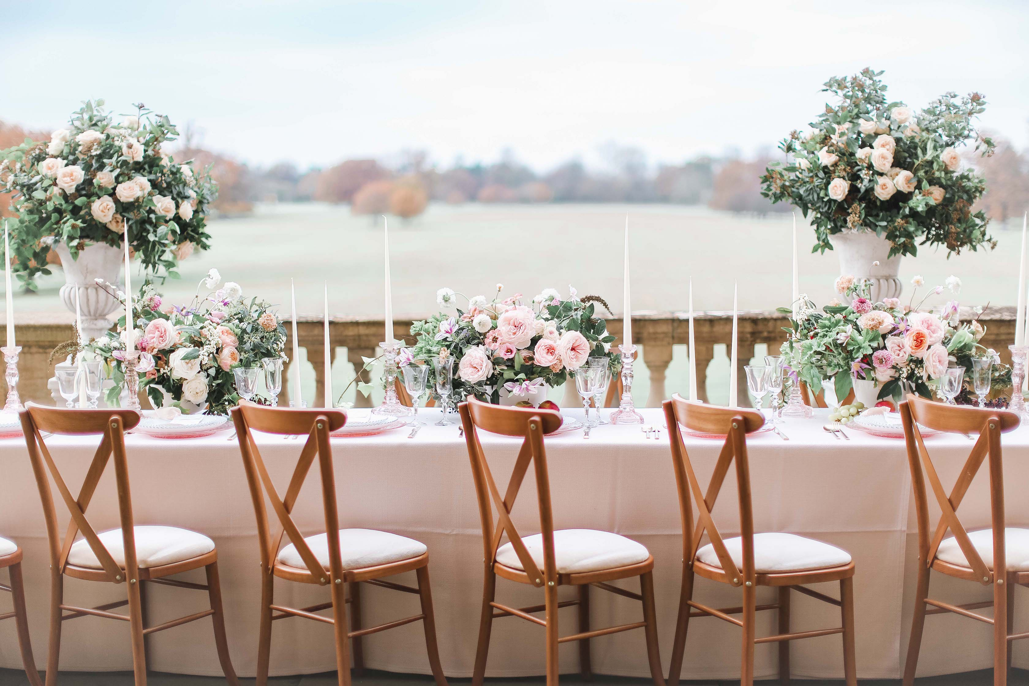 Rose Table Wedding Centrepieces - Wild Anemones - Pedestal Centrepieces - Tapered Candles  - Blush Wedding