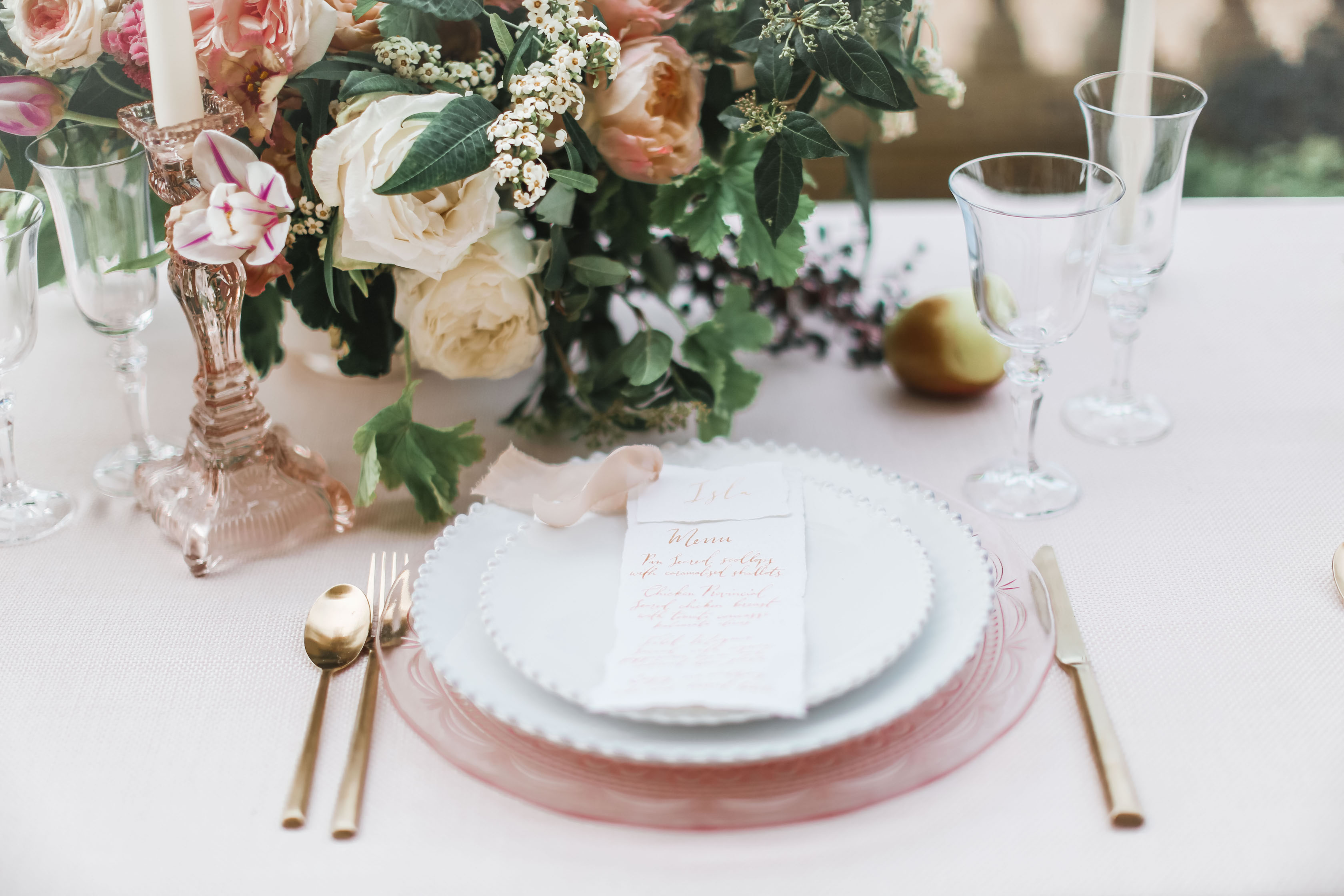 Japanese Roses Table Centrepieces - Stationery and Set-up