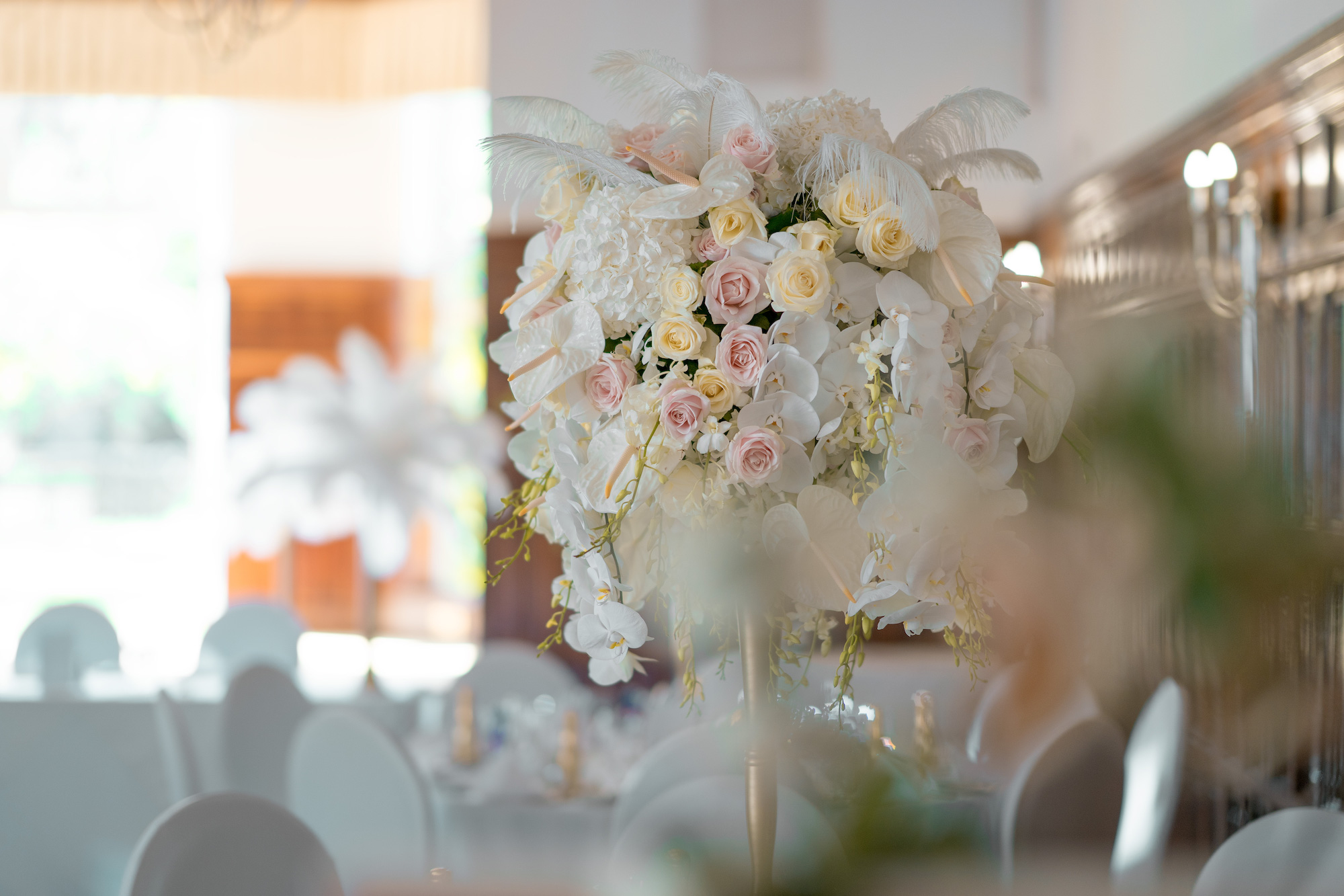 Feather and Orchid Centrepiece