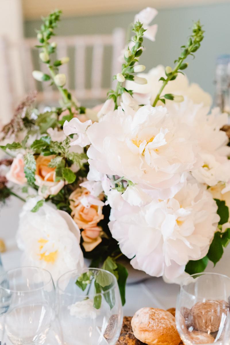 Peonies and foxglove arrangement