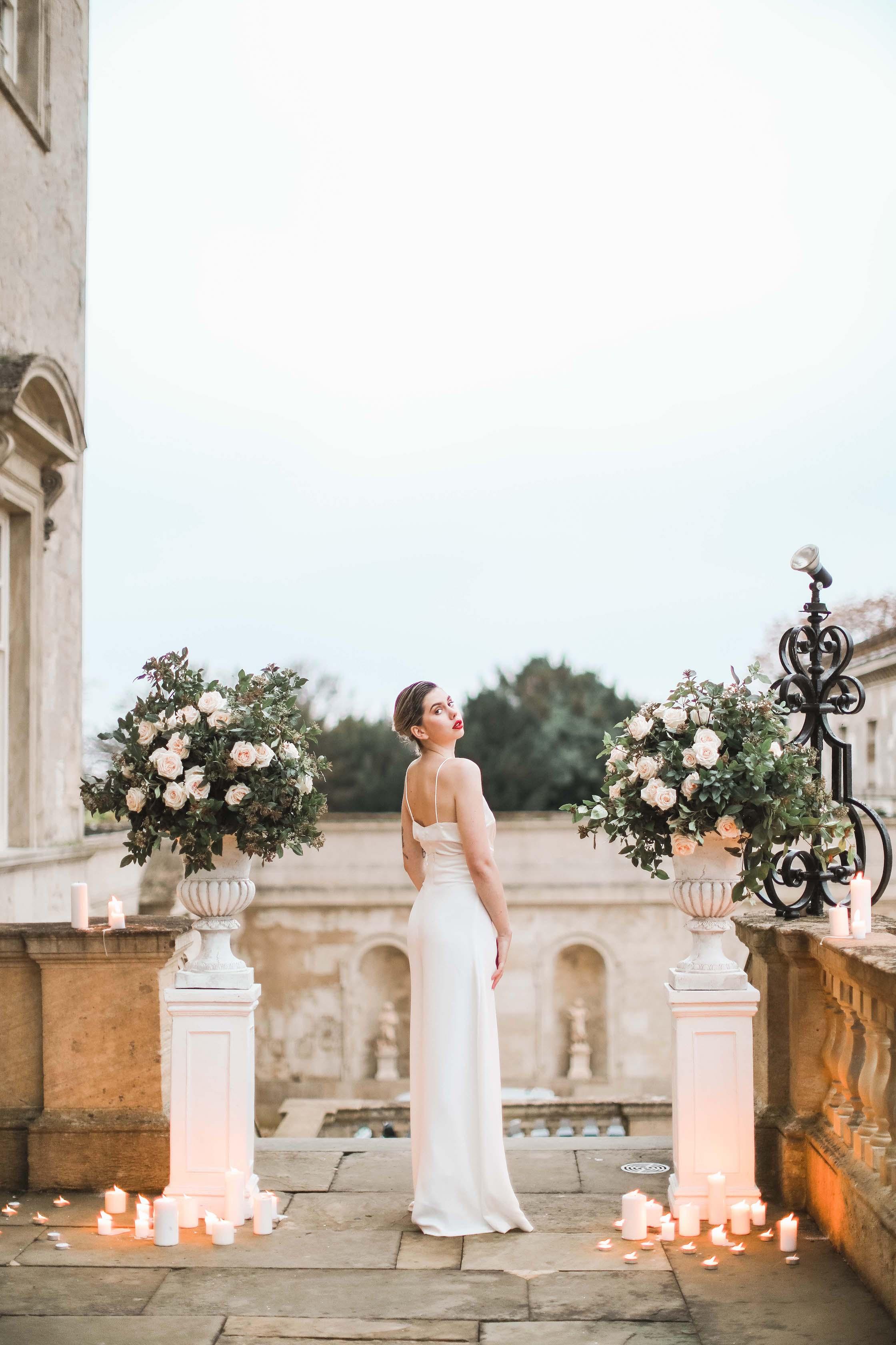 Evening Dress - Evening Wedding Flowers - Candle Decorations
