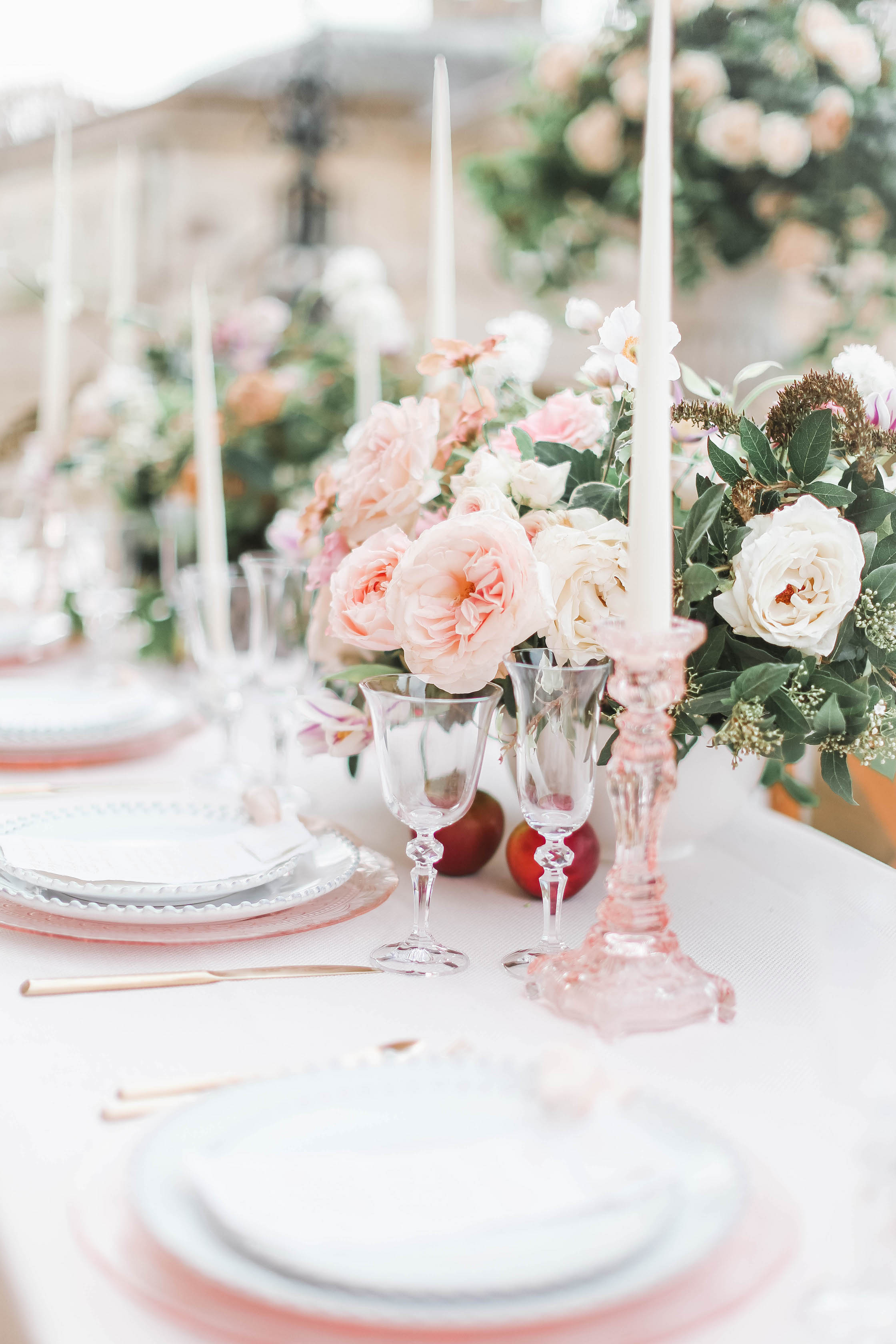 Rose Table Wedding Centrepieces - Wild Anemones - Tapered Candles