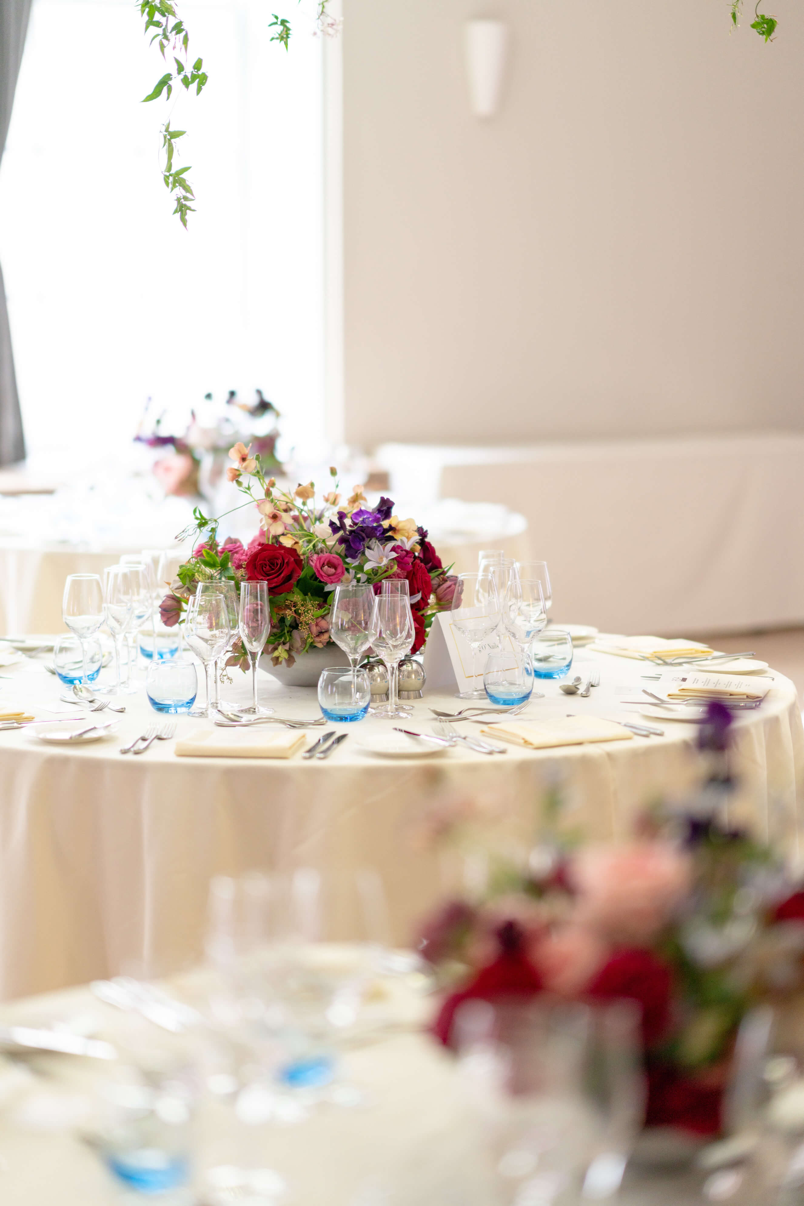 Royal Society of Arts wedding reception room with flowers