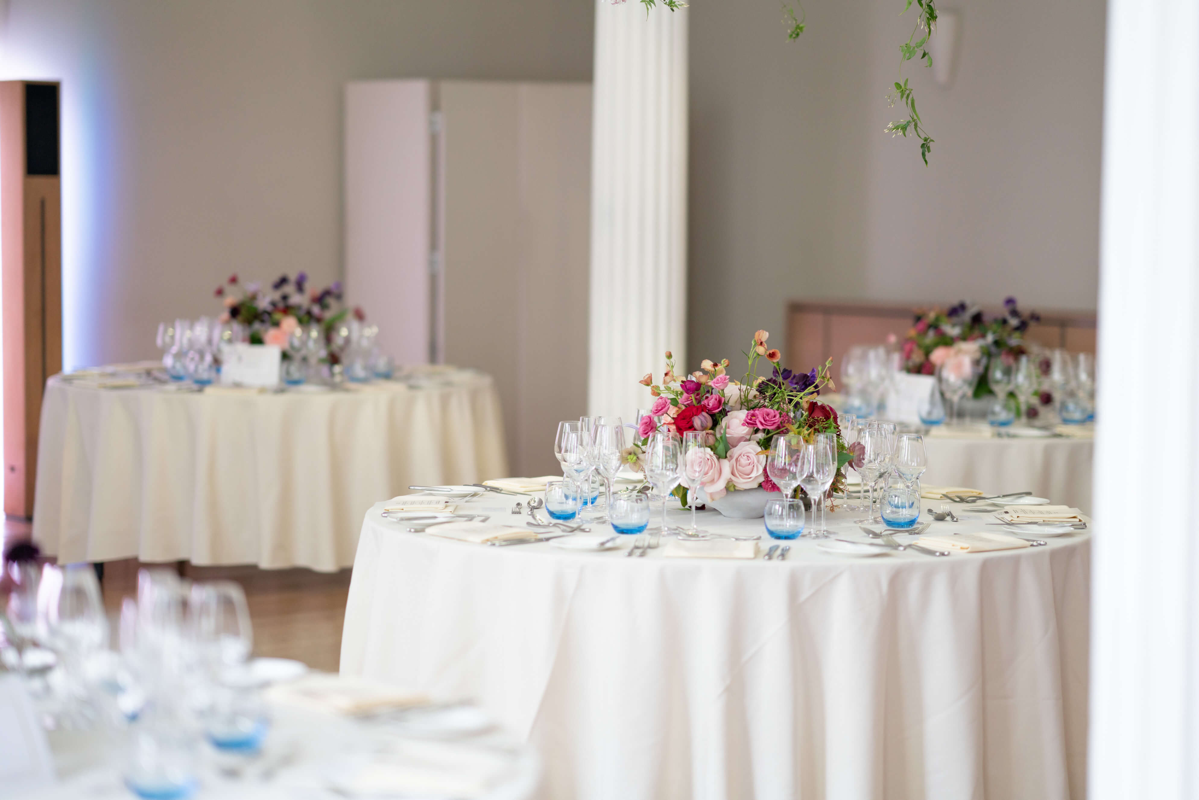 Tables with wedding flowers