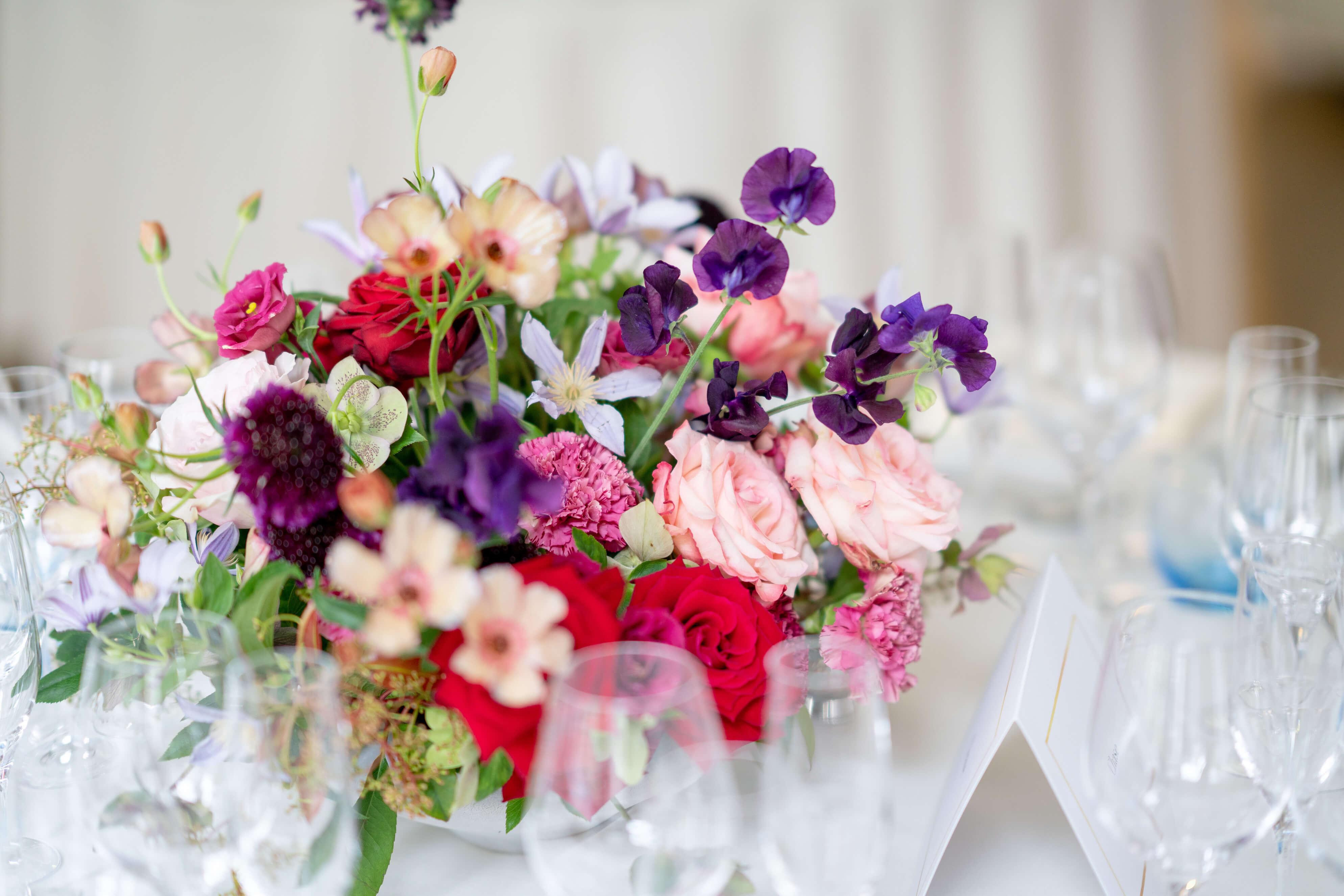 Colourful wedding flower centrepiece