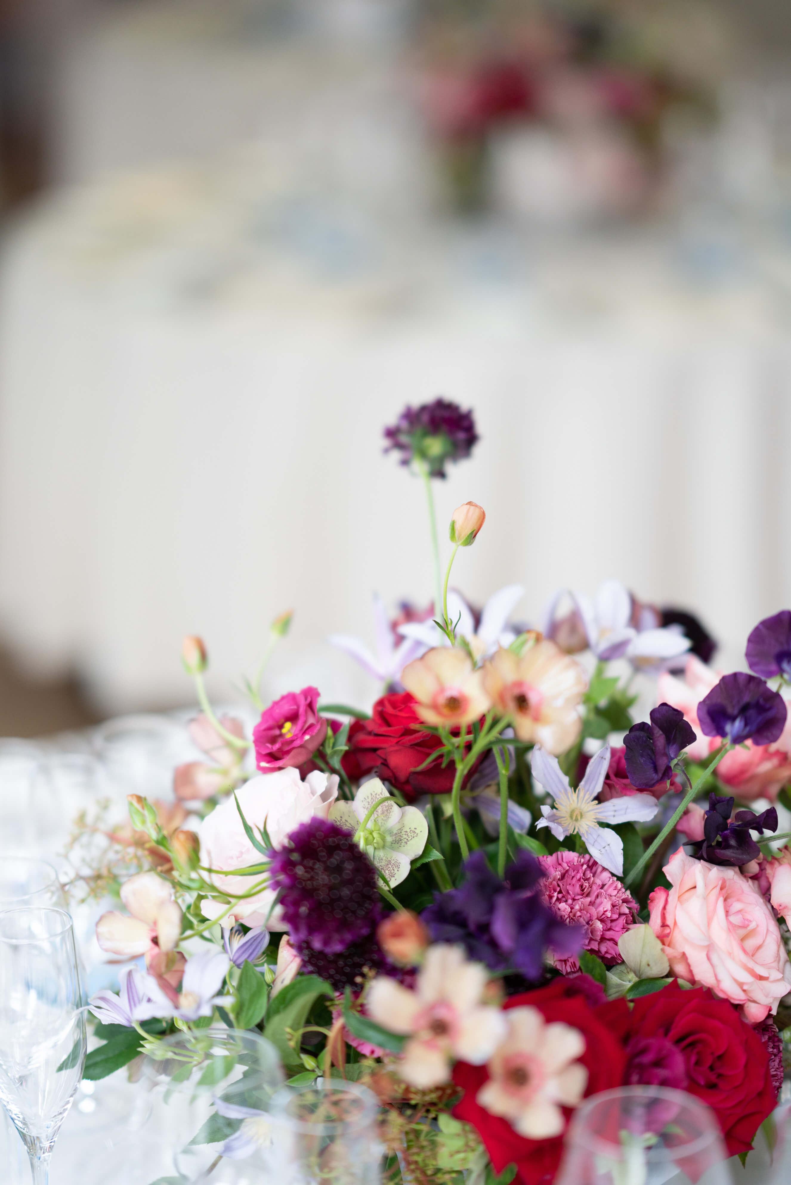 Scabiosa wedding flower arrangement