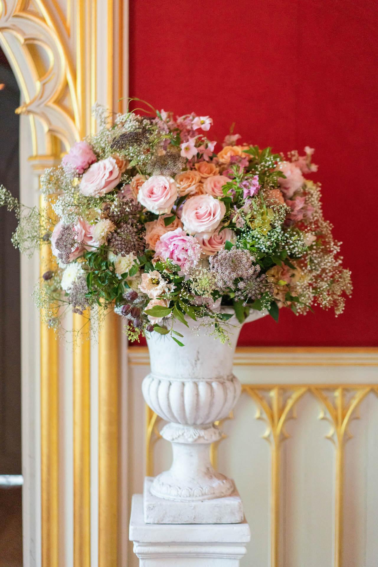 Round Large Gypsophilia and Roses Flower Arrangemnent