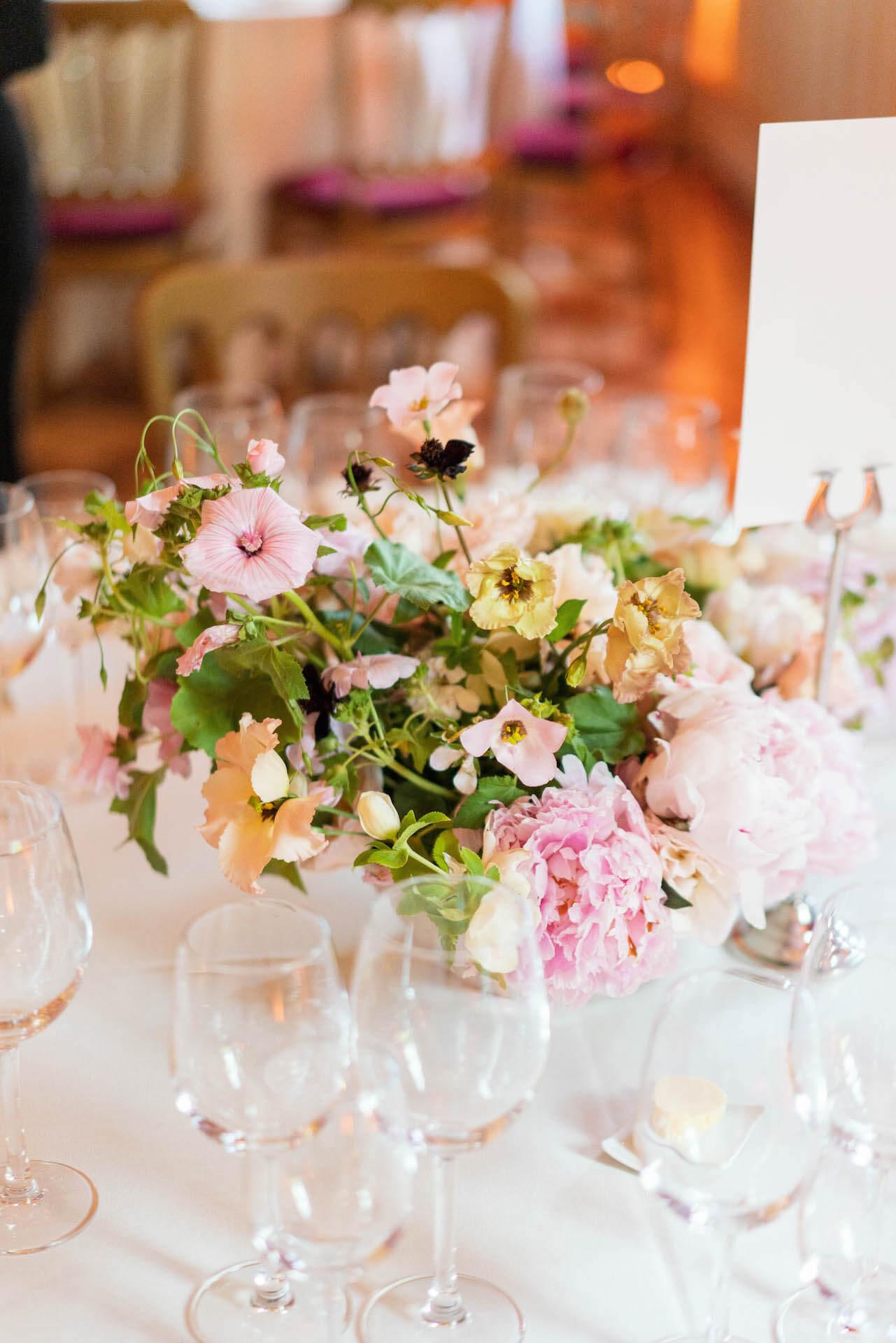 Peony and wild flowers wedding centrepiece