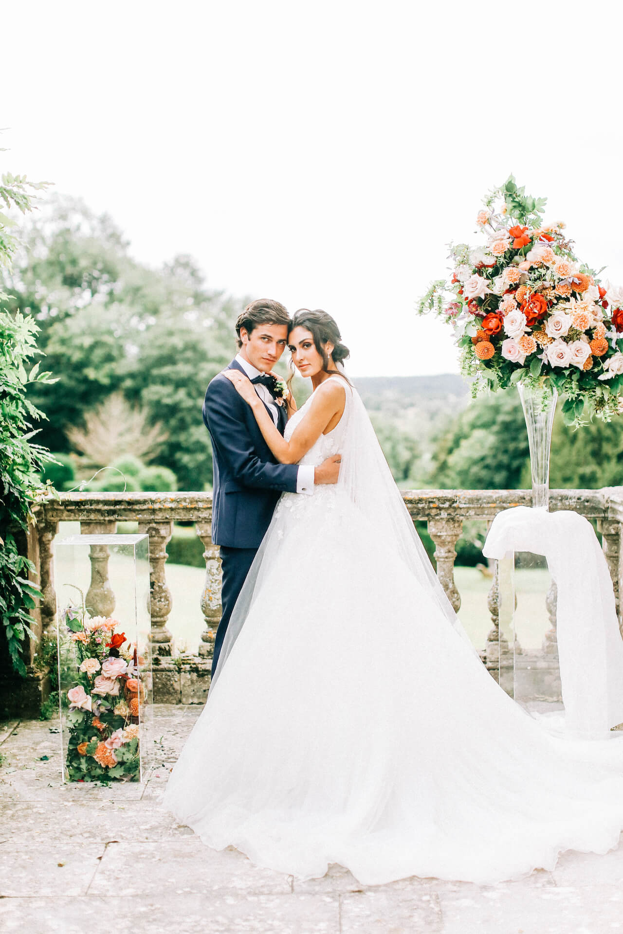 Bride and Groom in Luxury Wedding Flowers