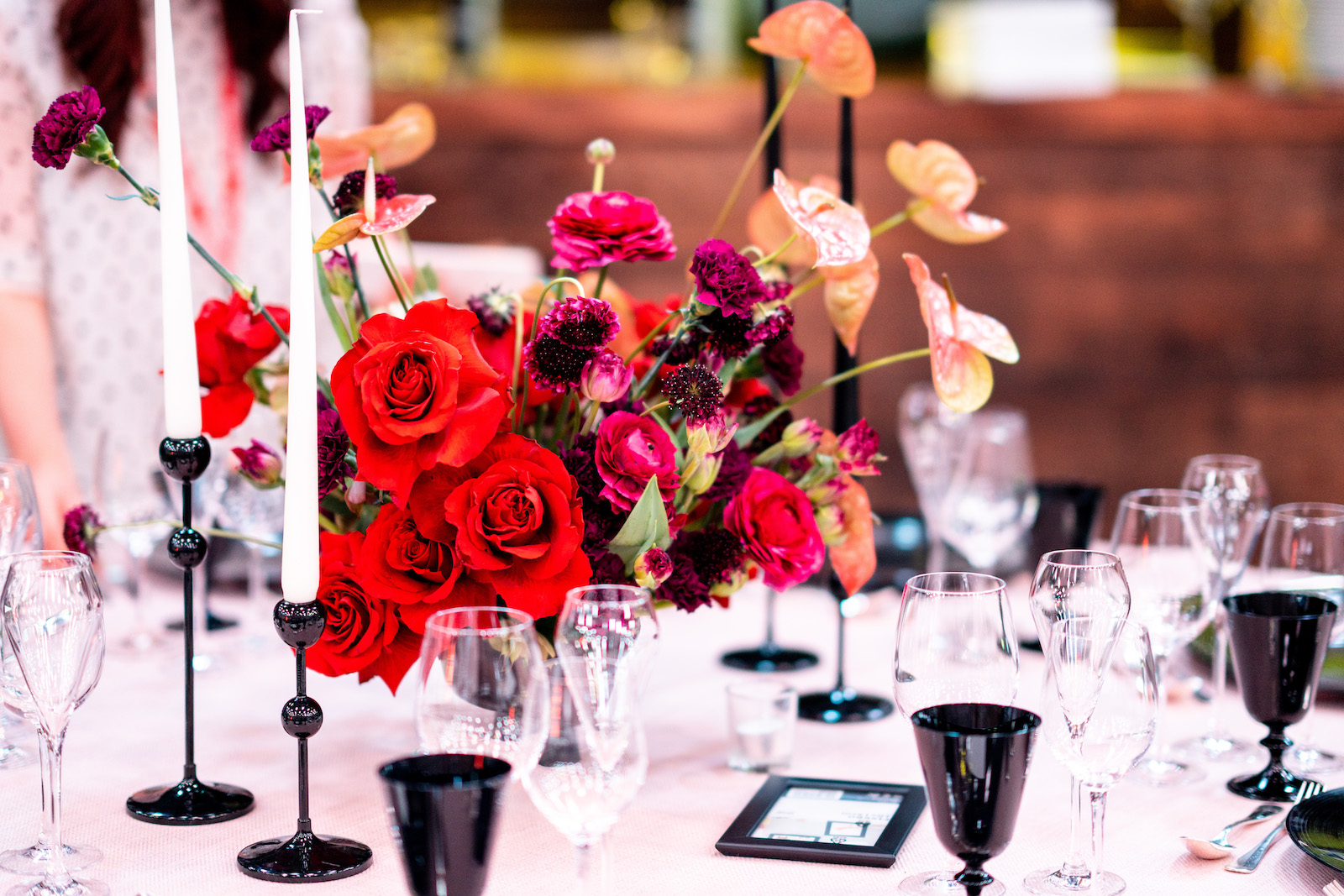 Red modern table centrepiece