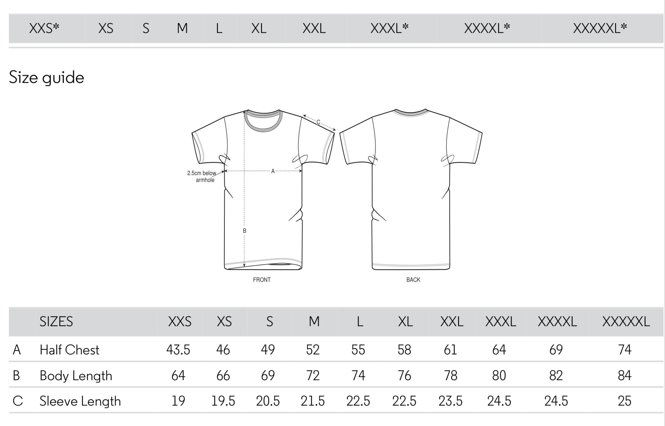 Tallas Camiseta Unisex