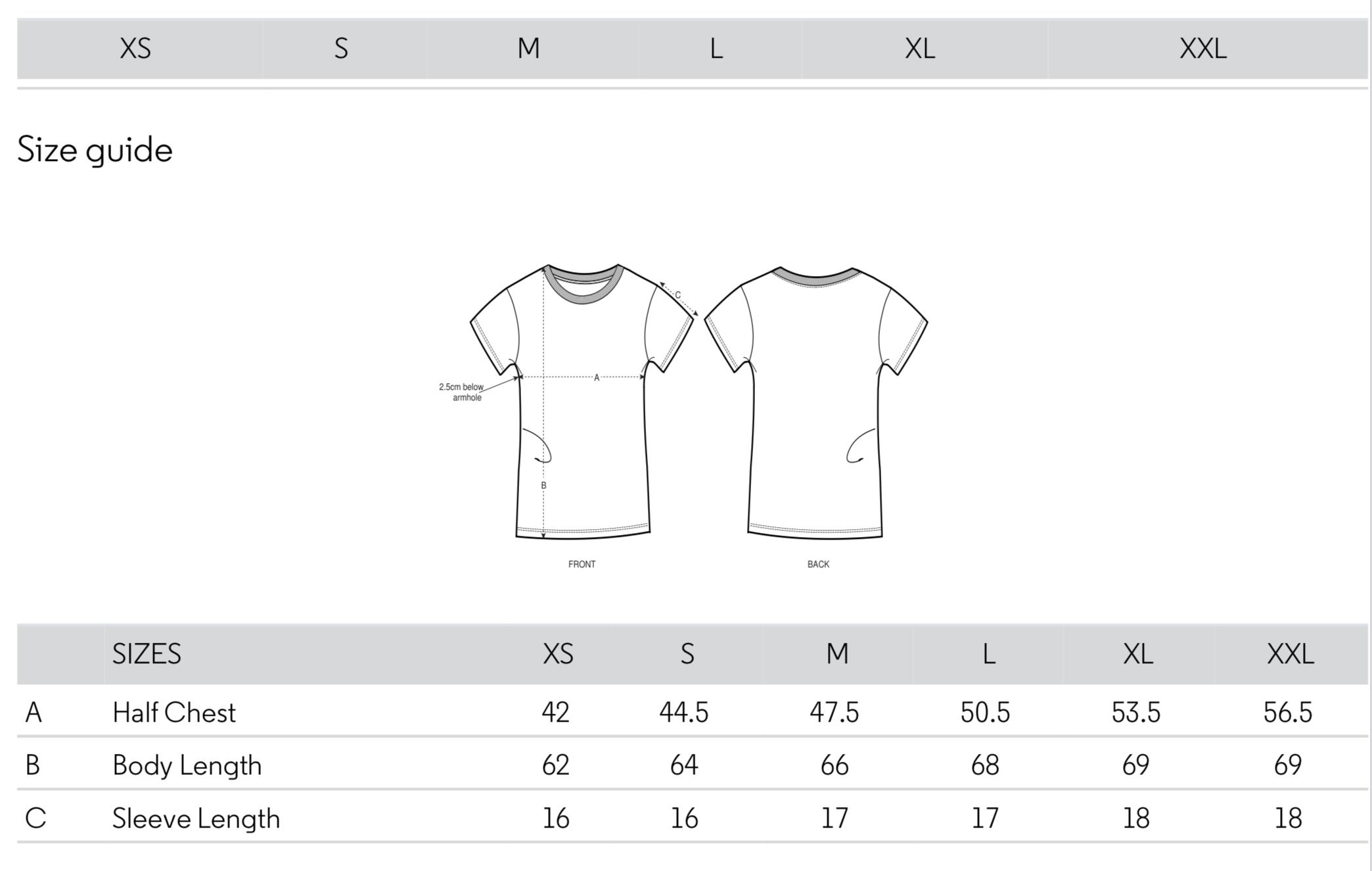 Tallas Camiseta Mujer
