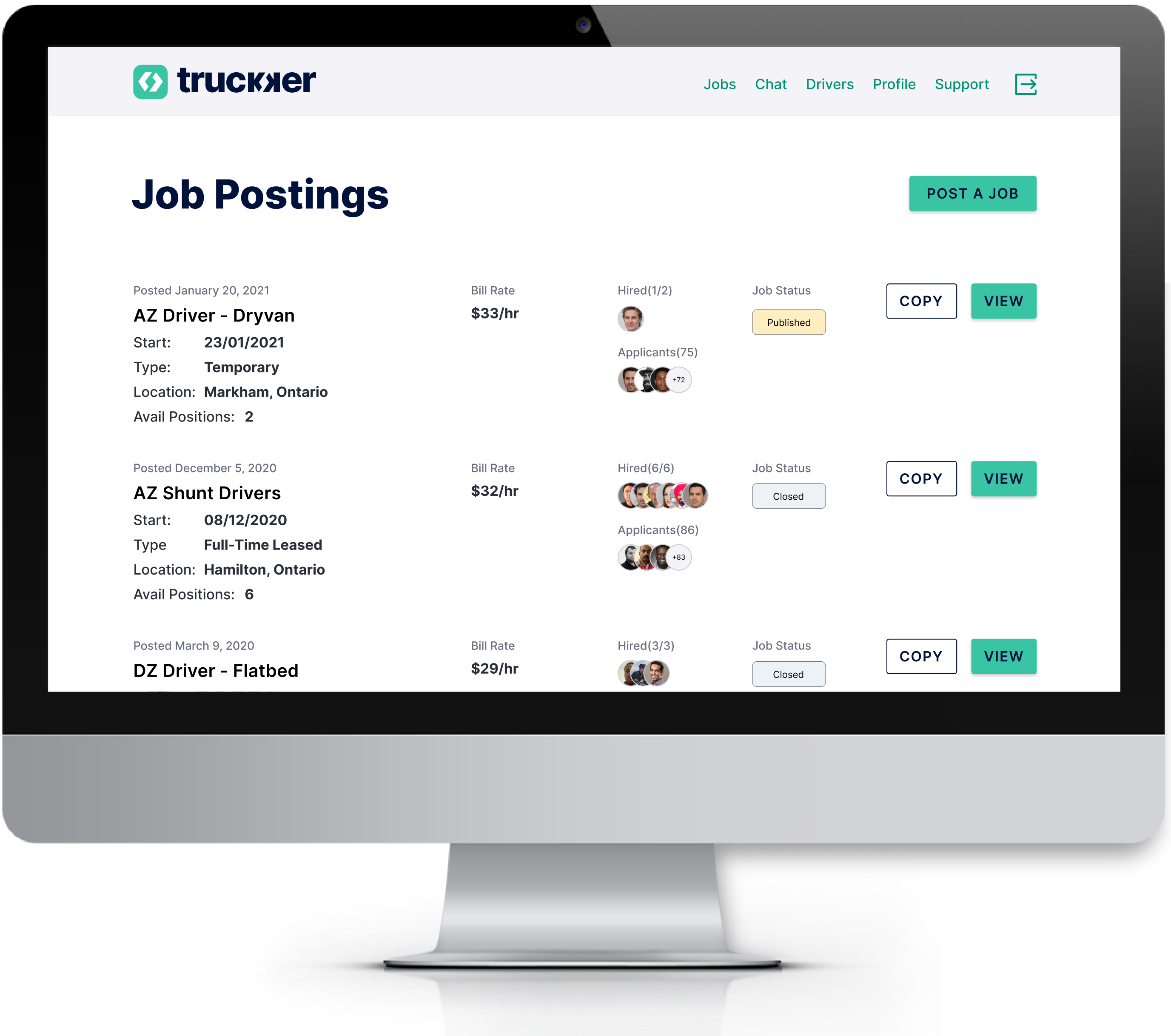 Job posting dashboard