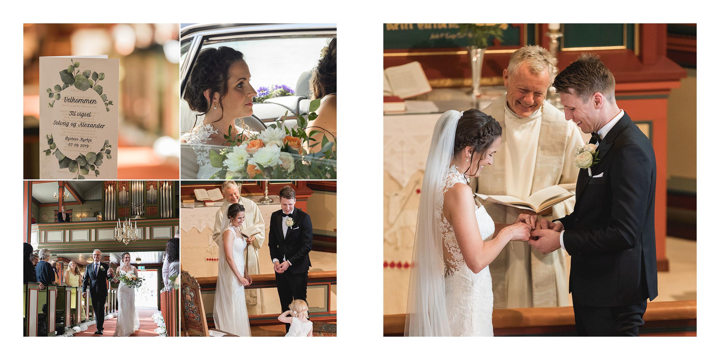brud og brudgom i øystese kirke kyrkje vielse bryllup