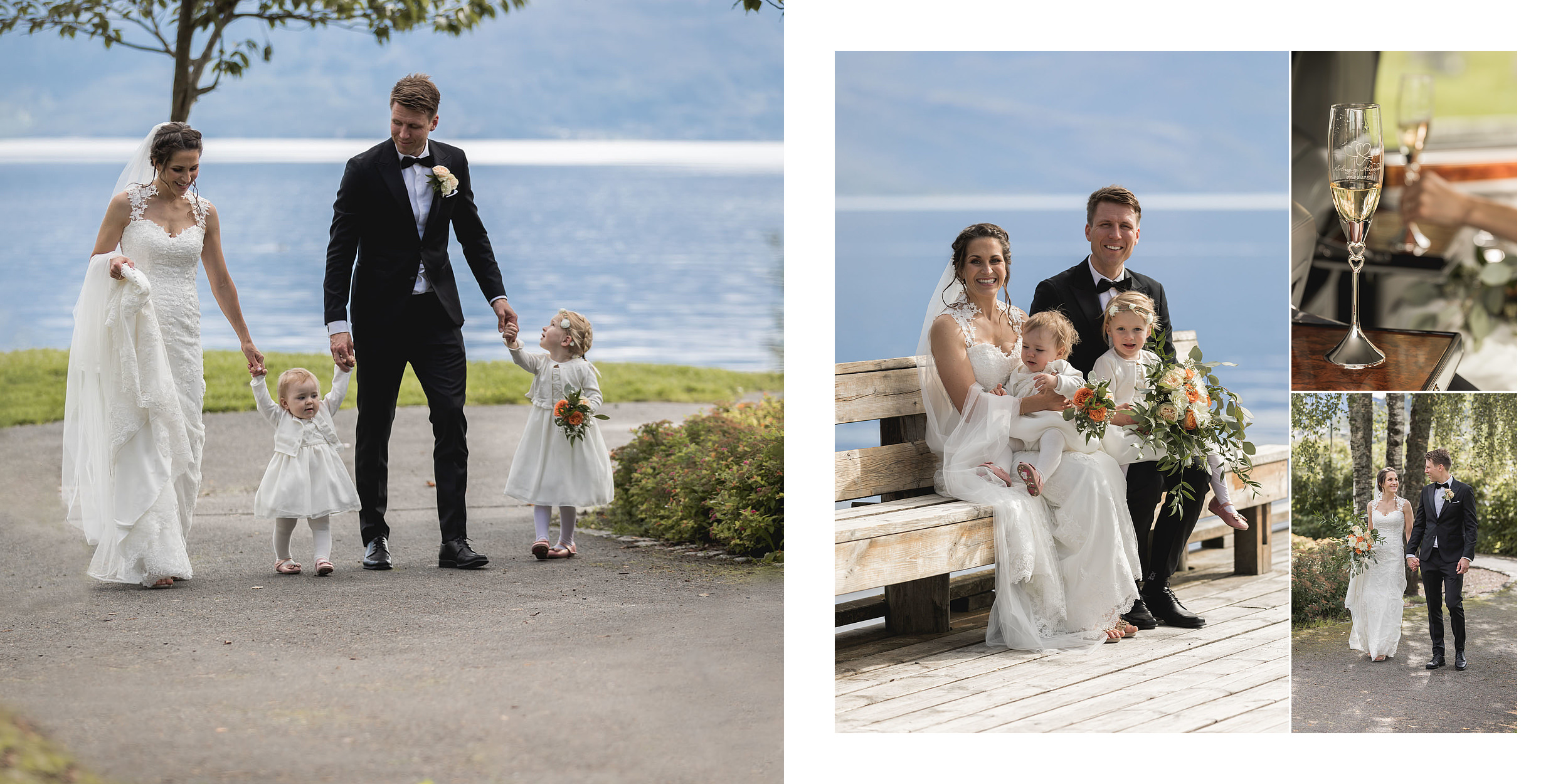 hardanger. brudebilder øystese brudepar brud brudgom med barna park