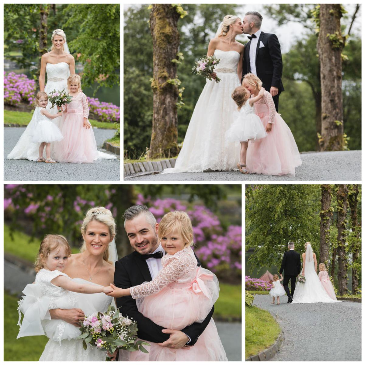 brud og brudgom med barn på gamlehaugen i bergen. brudebilder
