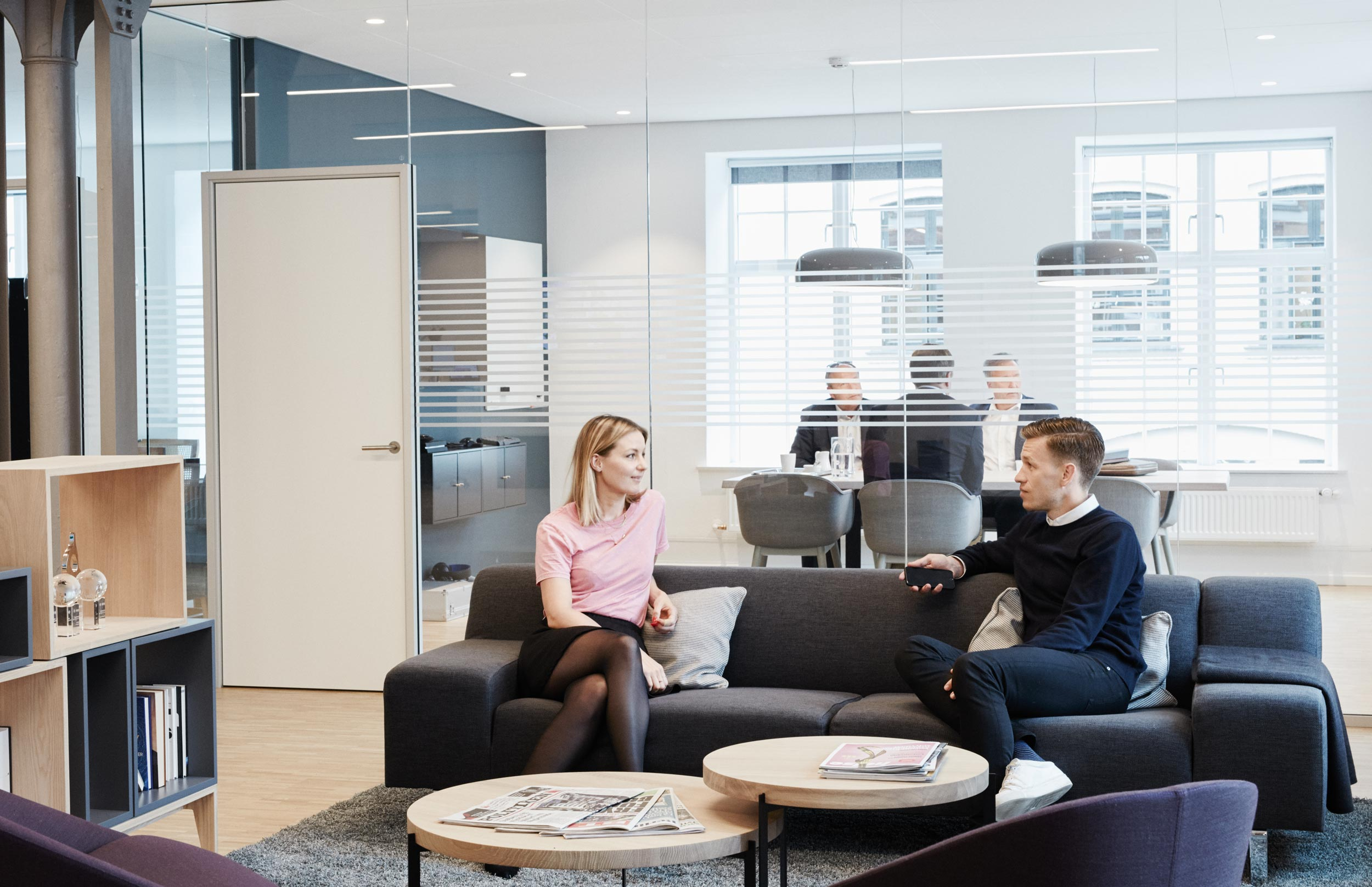 Photo of two employees at Holm discussing