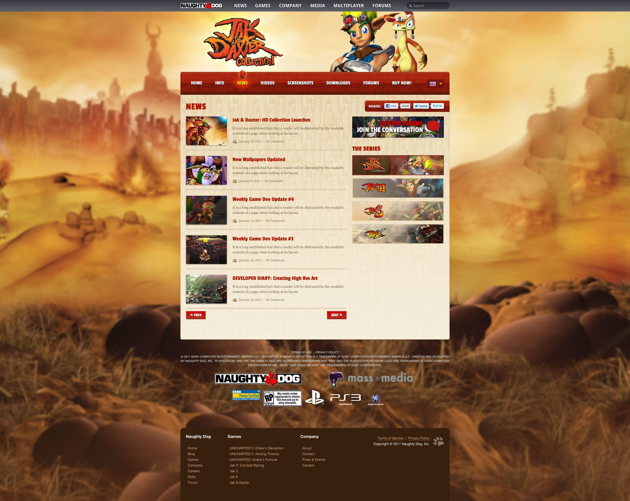 Jak and Daxter Page Design