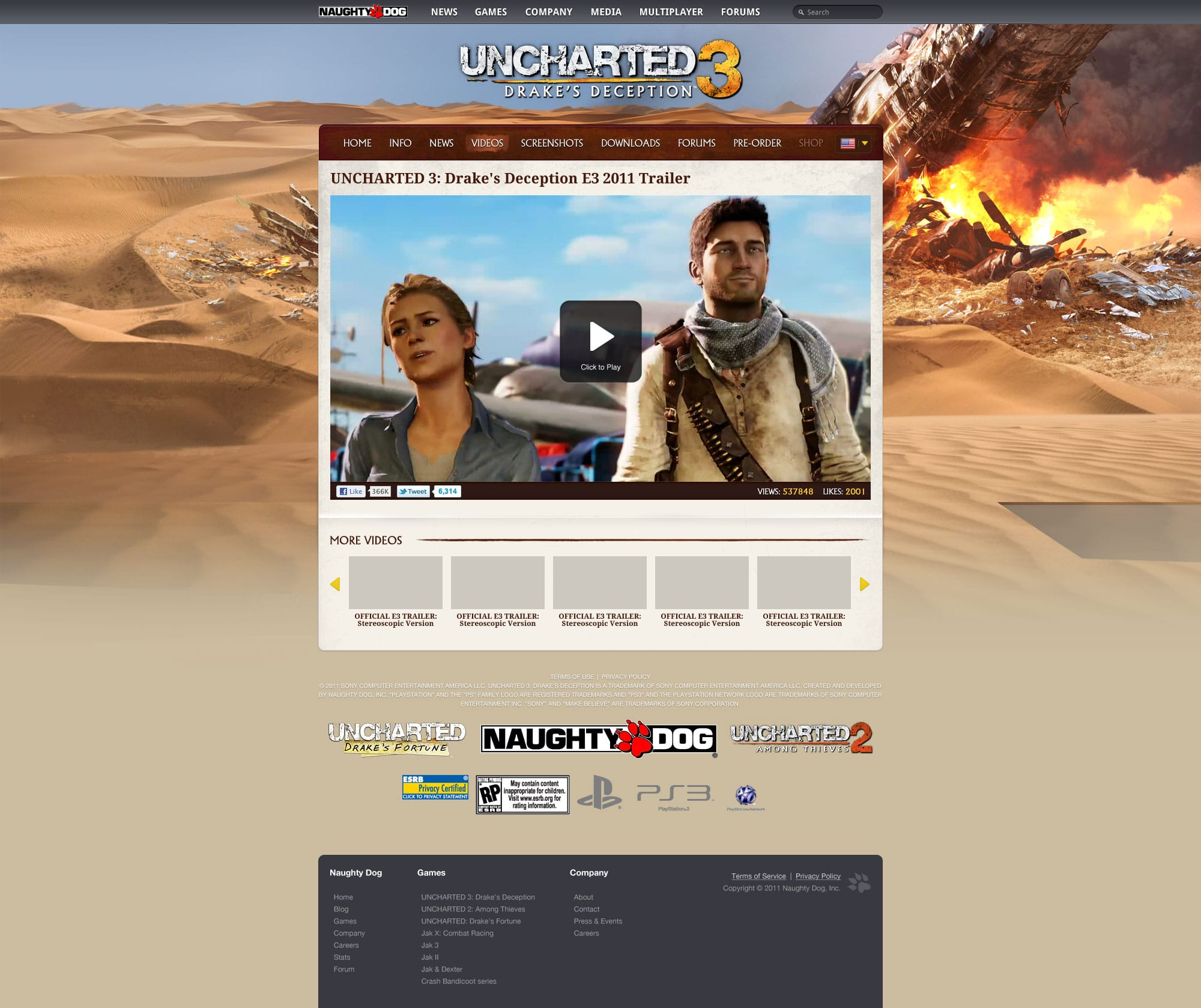 Uncharted 3 Page Design