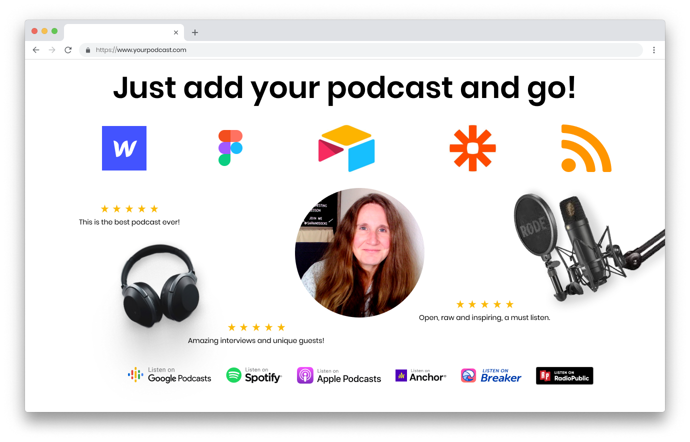 Podcast Ops image showing icons of tools represented in the package