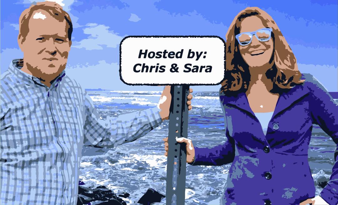 Chris and Sara holding sign