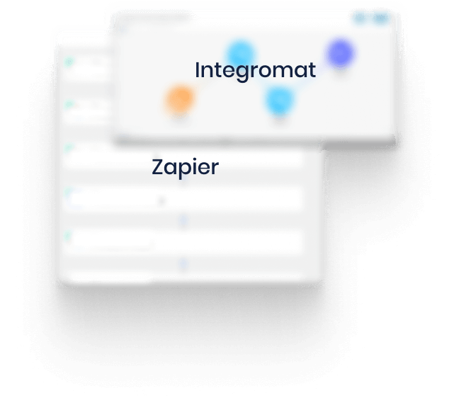 Blurry screen shot of automations in Zapier and Integromat