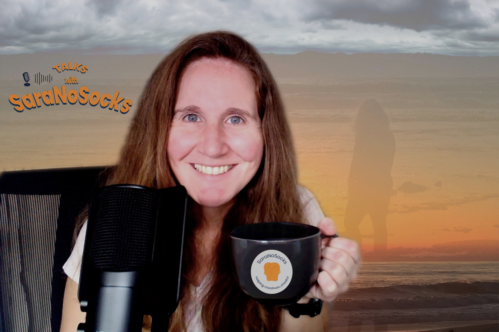Photo of Sara with beach in background and microphone and coffee mug in foreground