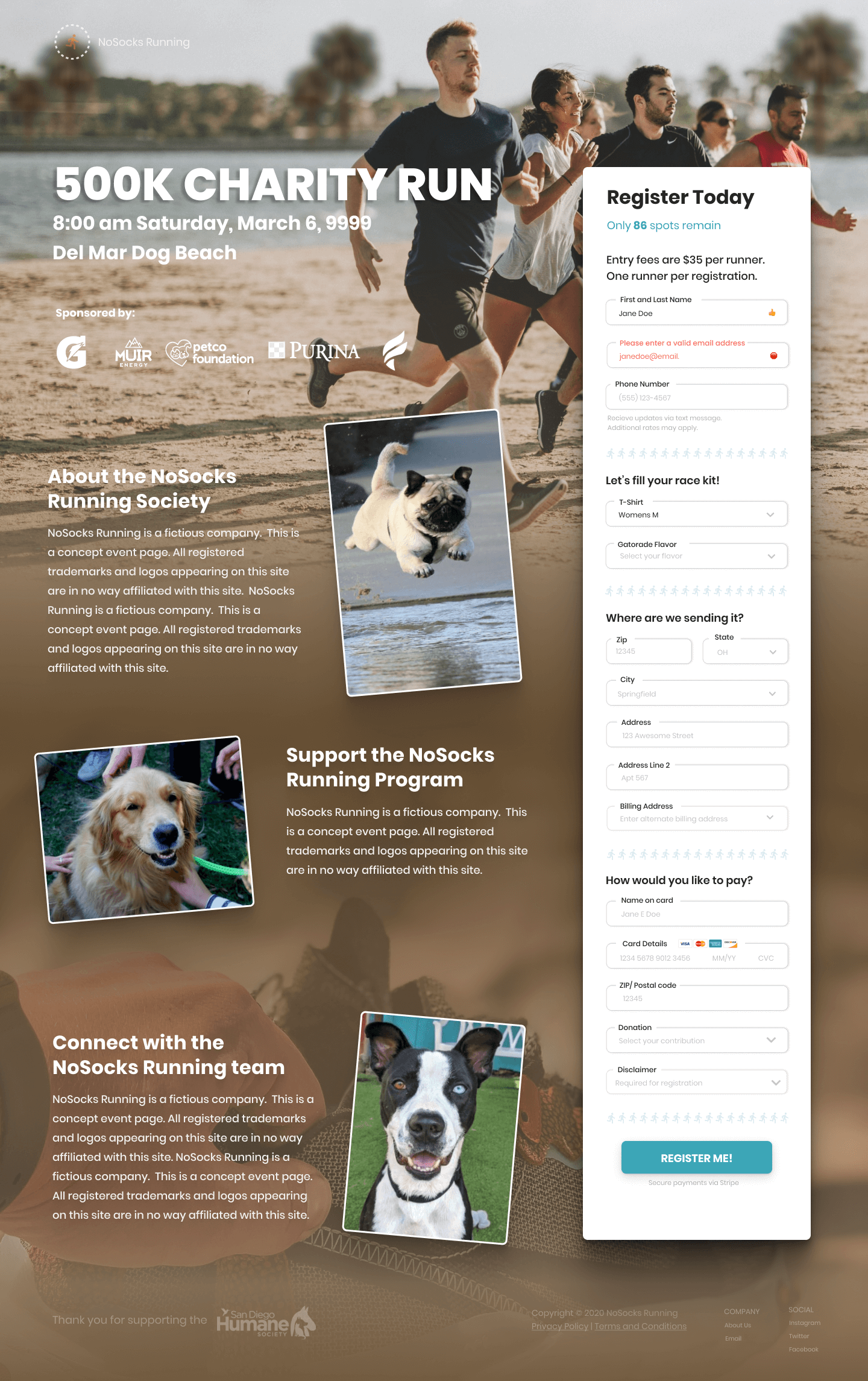 A concept event page for a fitness event.