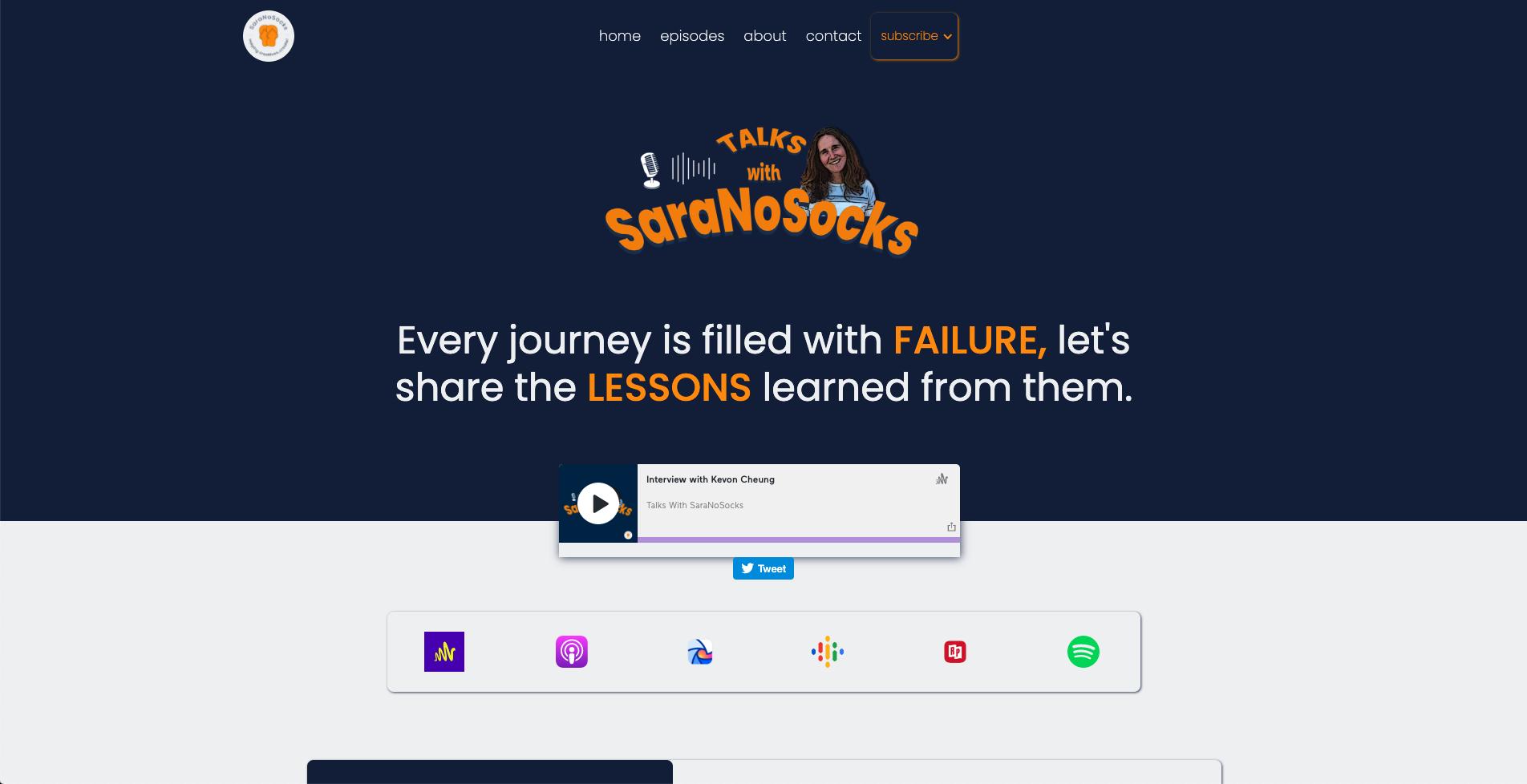 Talks With SaraNoSocks Landing Page
